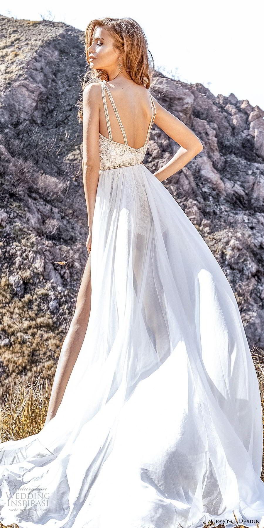 crystal design 2020 couture bridal sleeveless beaded straps plunging split sweetheart neckline bodysuit aline wedding dress slit sheer skirt (2) sexy modern chapel train bv