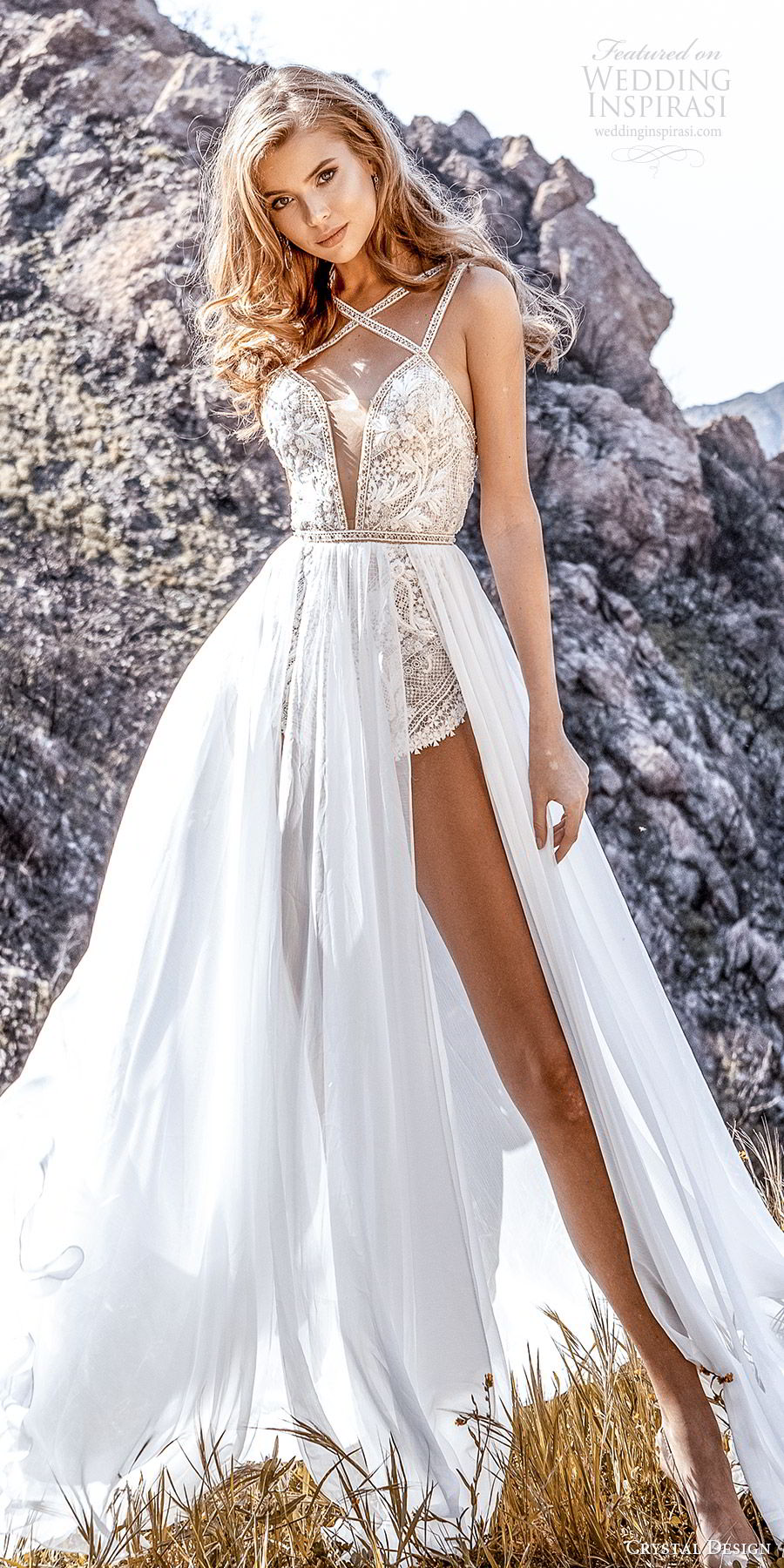 crystal design 2020 couture bridal sleeveless beaded straps plunging split sweetheart neckline bodysuit aline wedding dress slit sheer skirt (2) sexy modern chapel train mv