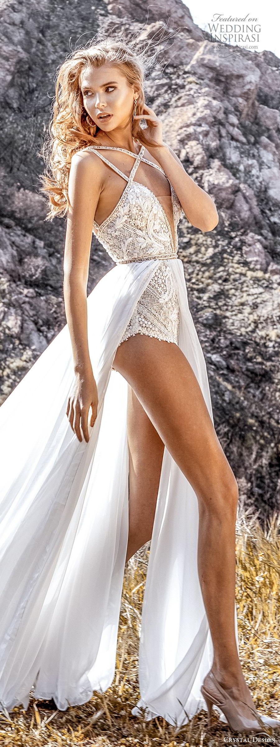crystal design 2020 couture bridal sleeveless beaded straps plunging split sweetheart neckline bodysuit aline wedding dress slit sheer skirt (2) sexy modern chapel train sv
