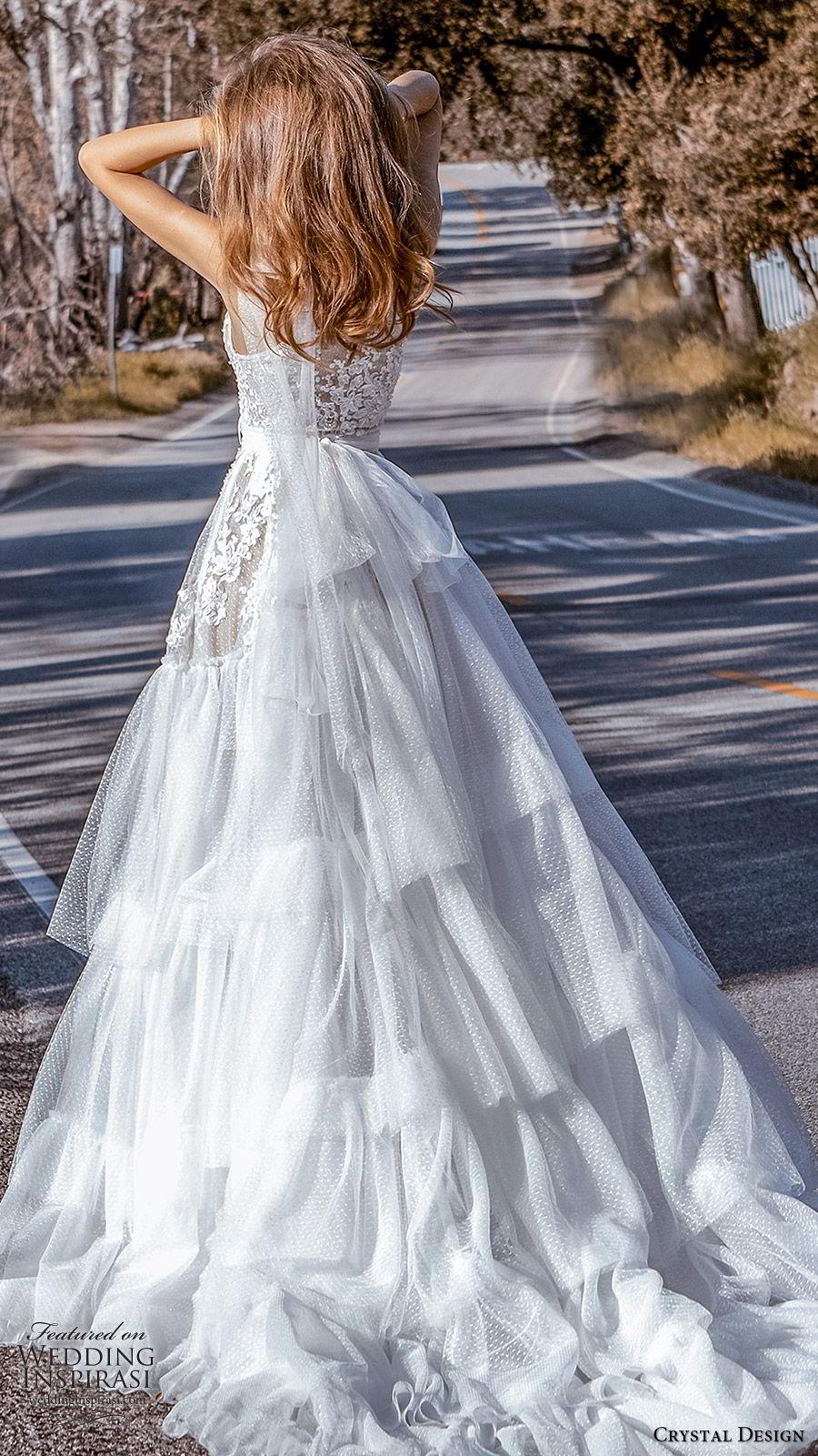 crystal design 2020 couture bridal sleeveless halter neck lace bodice drop waist ball gown wedding dress (6) romantic boho chic chapel train bv
