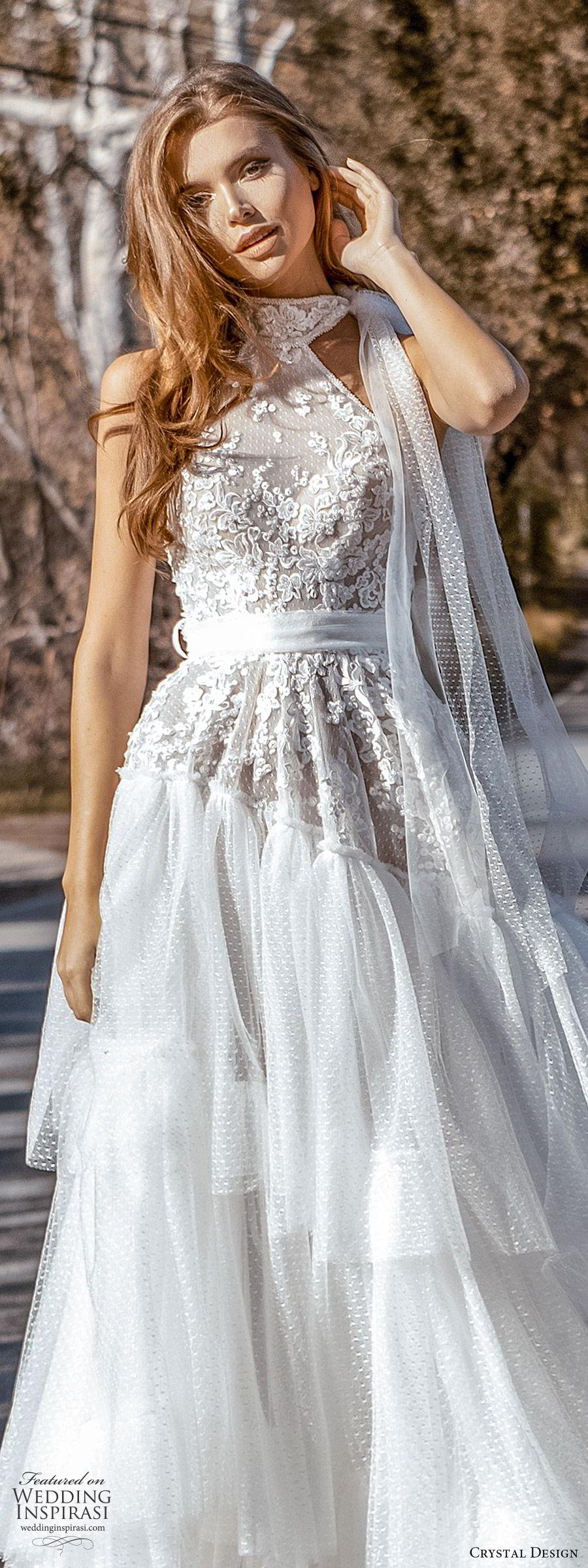 crystal design 2020 couture bridal sleeveless halter neck lace bodice drop waist ball gown wedding dress (6) romantic boho chic chapel train lv