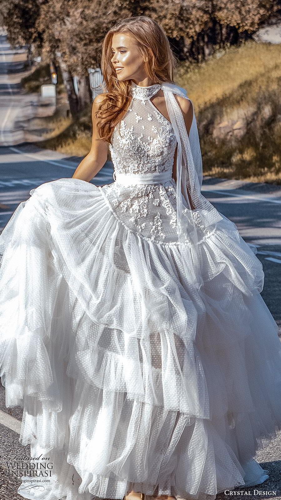crystal design 2020 couture bridal sleeveless halter neck lace bodice drop waist ball gown wedding dress (6) romantic boho chic chapel train mv
