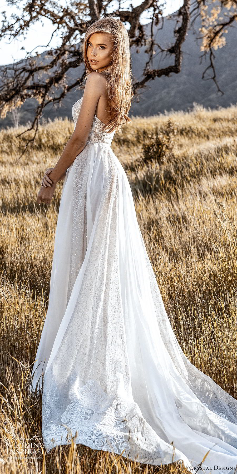 crystal design 2020 couture bridal sleeveless halter neckline fully embellished sheath wedding dress a line ball gown overskirt (1) romantic glitzy chapel train bv