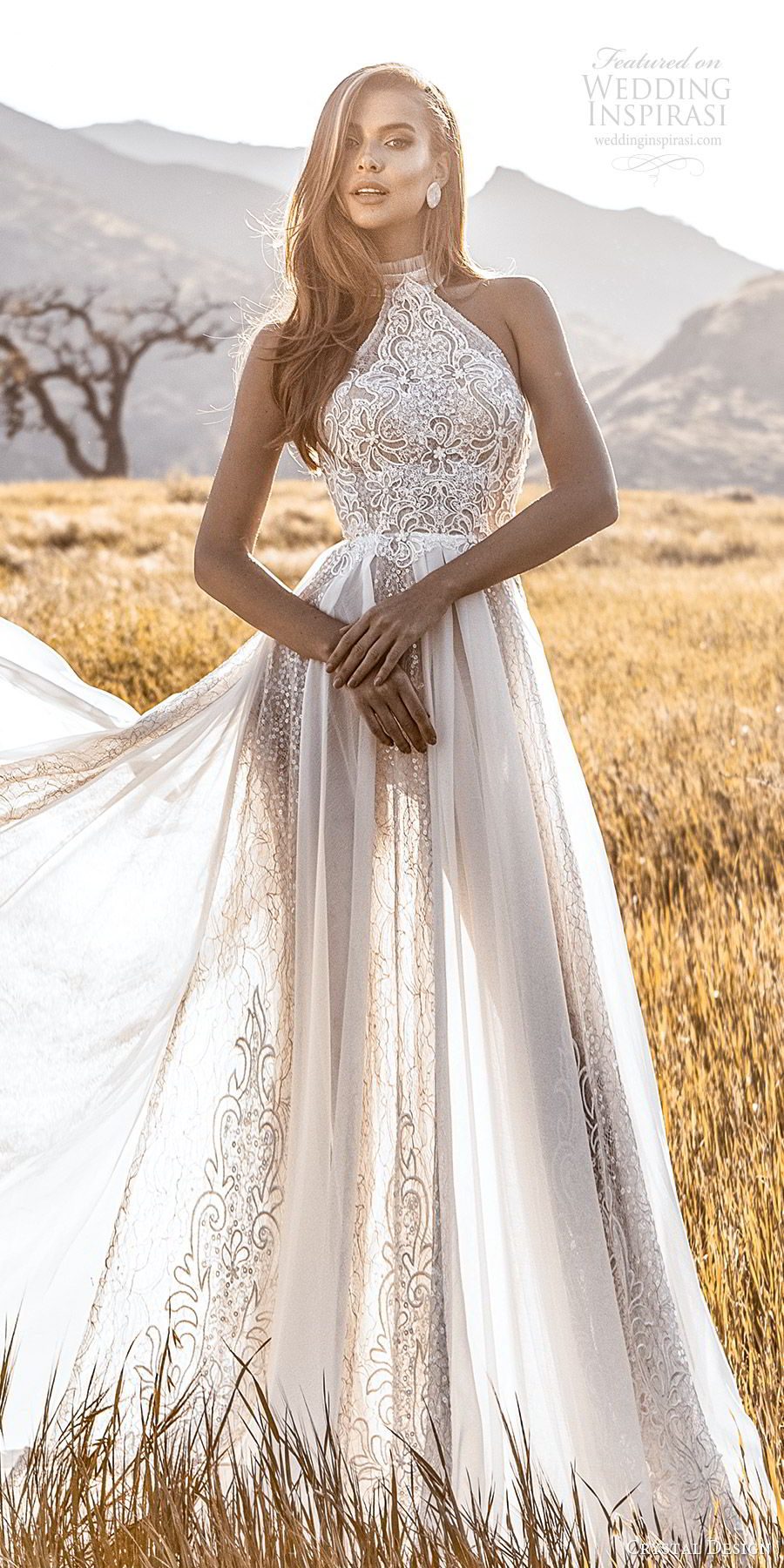 crystal design 2020 couture bridal sleeveless halter neckline fully embellished sheath wedding dress a line ball gown overskirt (1) romantic glitzy chapel train fv