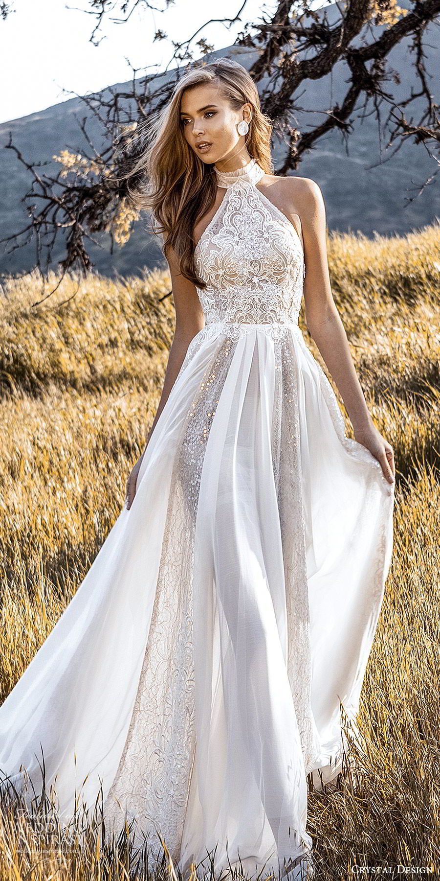 crystal design 2020 couture bridal sleeveless halter neckline fully embellished sheath wedding dress a line ball gown overskirt (1) romantic glitzy chapel train mv