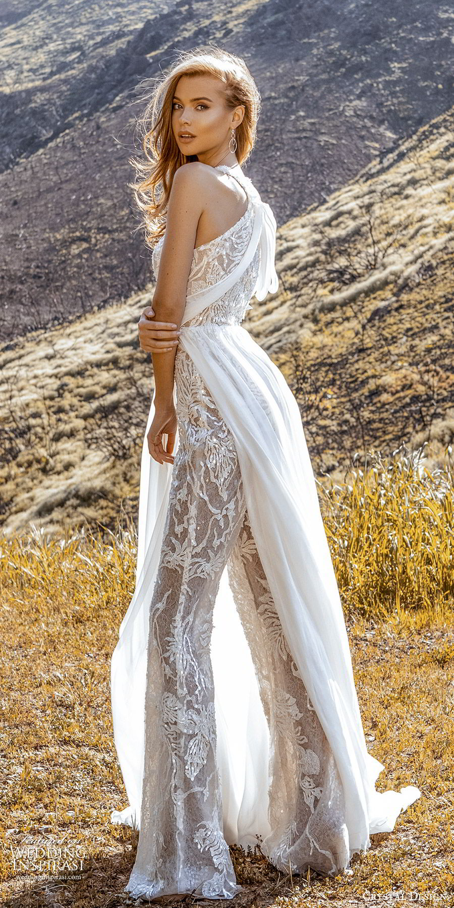 crystal design 2020 couture bridal sleeveless halter neckline jumpsuit wedding dress a line skirt slit (5) modern chic romantic bv