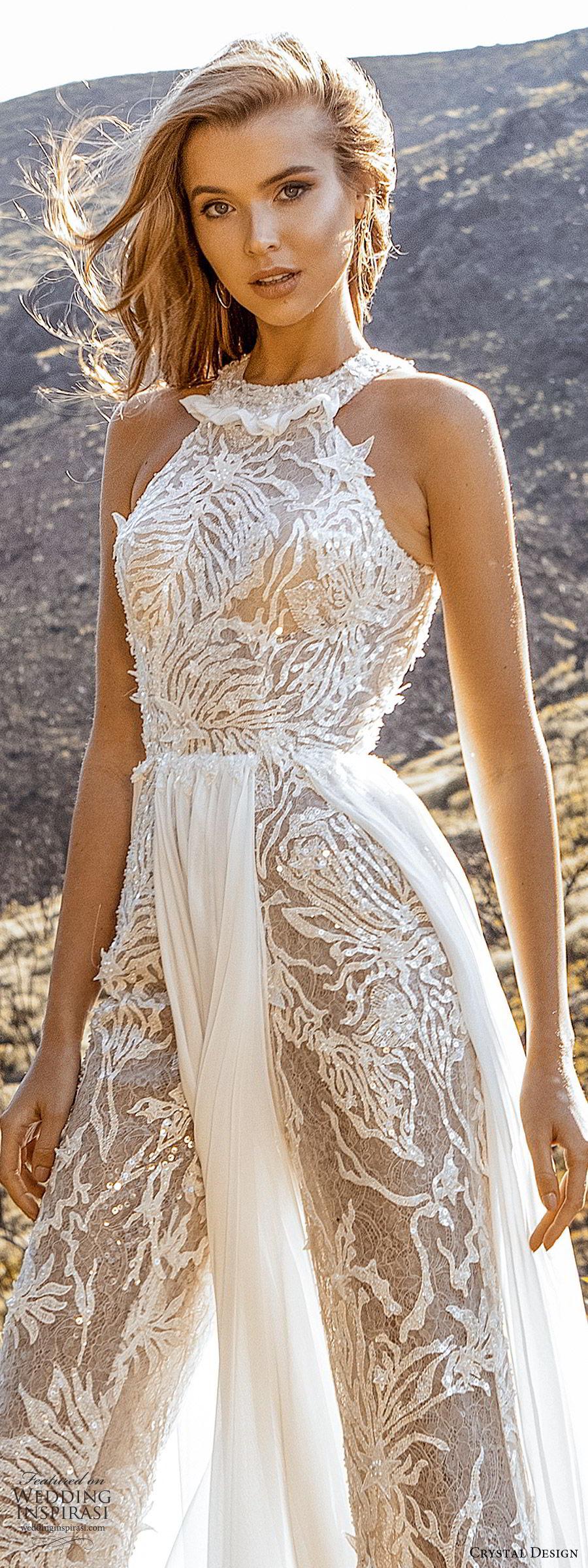crystal design 2020 couture bridal sleeveless halter neckline jumpsuit wedding dress a line skirt slit (5) modern chic romantic lv