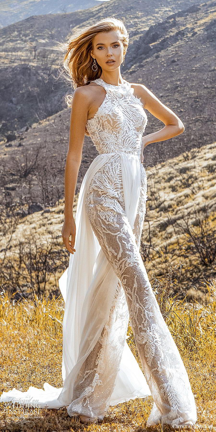 crystal design 2020 couture bridal sleeveless halter neckline jumpsuit wedding dress a line skirt slit (5) modern chic romantic sv