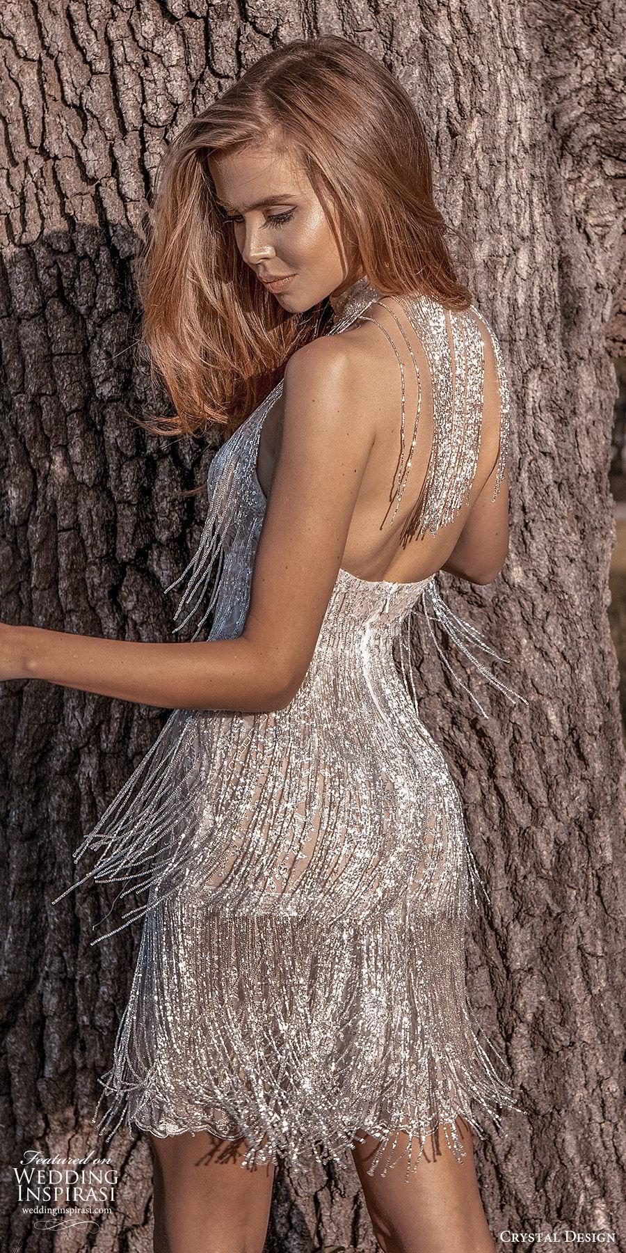 crystal design 2020 couture bridal sleeveless halter neckline short mini wedding dress (10) beaded fringe glitzy glam bv