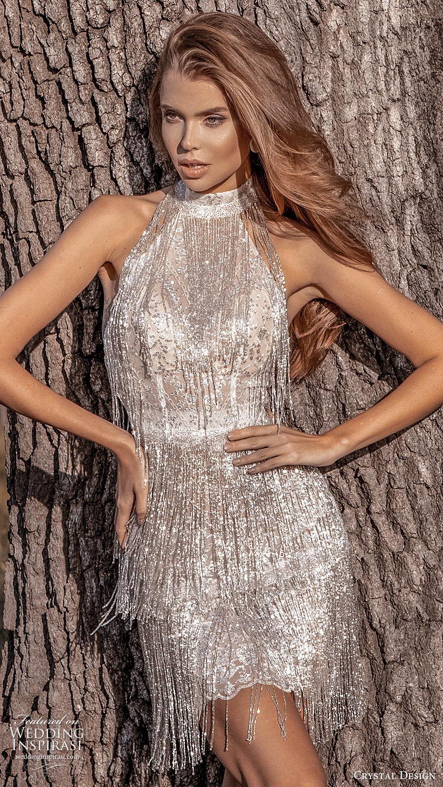 crystal design 2020 couture bridal sleeveless halter neckline short mini wedding dress (10) beaded fringe glitzy glam mv