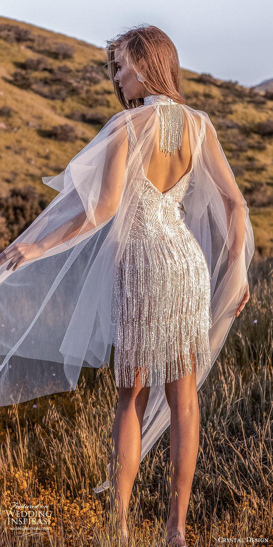 crystal design 2020 couture bridal sleeveless plunging v neckline fully embellished beaded fringe short wedding dress (9) glam high neck sheer cape bv