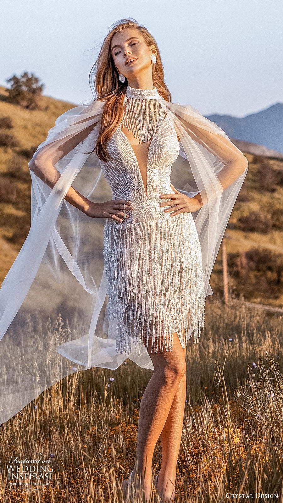 crystal design 2020 couture bridal sleeveless plunging v neckline fully embellished beaded fringe short wedding dress (9) glam high neck sheer cape mv