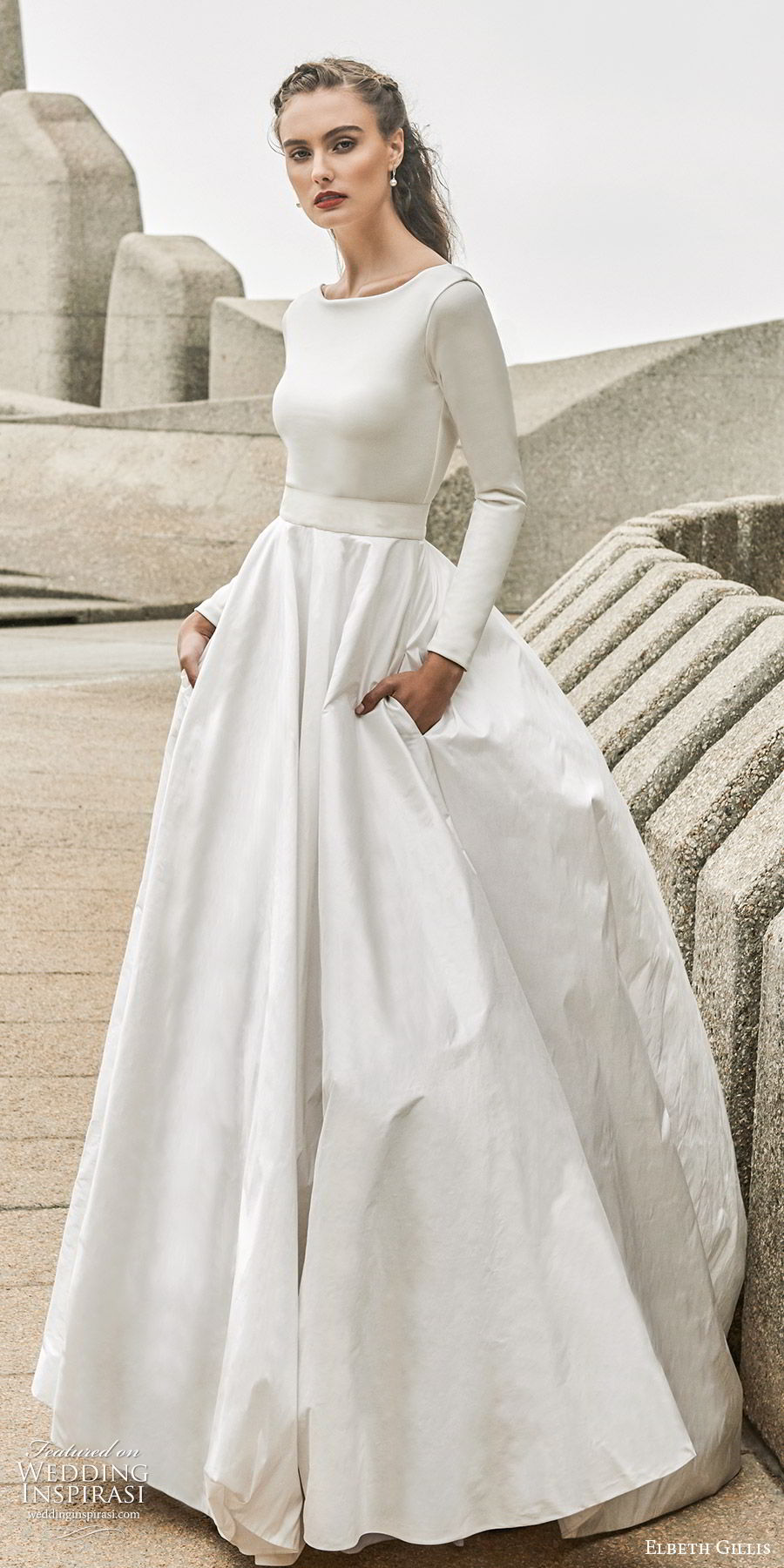 elbeth gillis 2020 bridal long sleeves bateau neckline minimally embellished a line ball gown wedding dress (2) clean chic minimal modest sweep train scoop back pockets fv