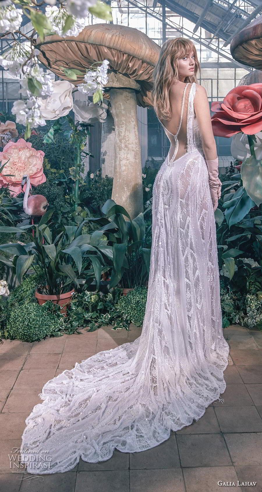 galia lahav s2020 gala bridal fringe cap sleeves deep v neck full embellishment sexy glamorus sheath wedding dress v back chapel train (2) bv