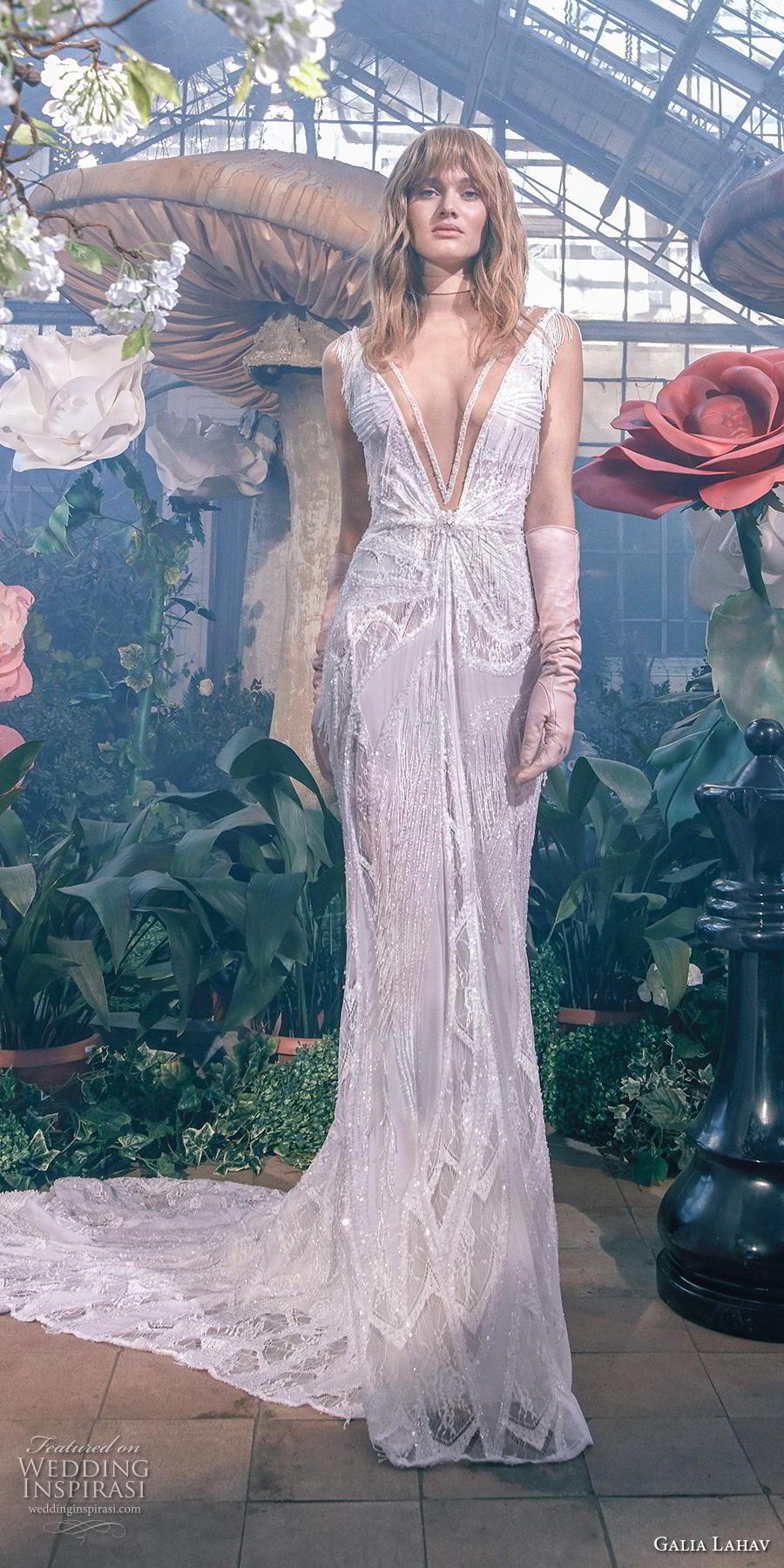 galia lahav s2020 gala bridal fringe cap sleeves deep v neck full embellishment sexy glamorus sheath wedding dress v back chapel train (2) mv