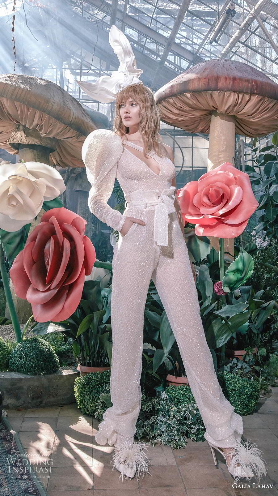 galia lahav s2020 gala bridal long puff sleeves one shoulder keyhole bodice full embellishment glamorous modern jumpsuit pants wedding dress (11) mv