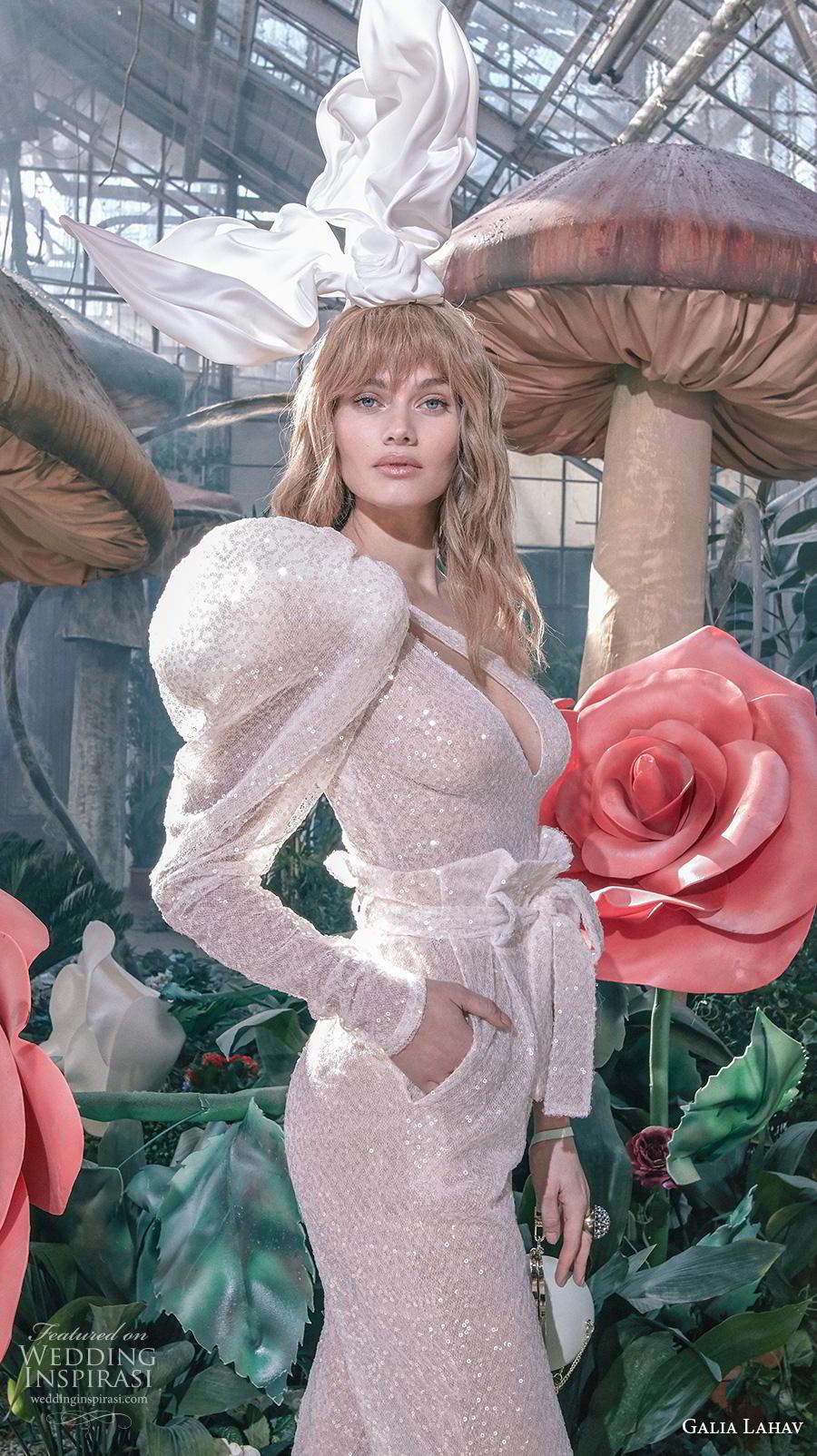 galia lahav s2020 gala bridal long puff sleeves one shoulder keyhole bodice full embellishment glamorous modern jumpsuit pants wedding dress (11) zv