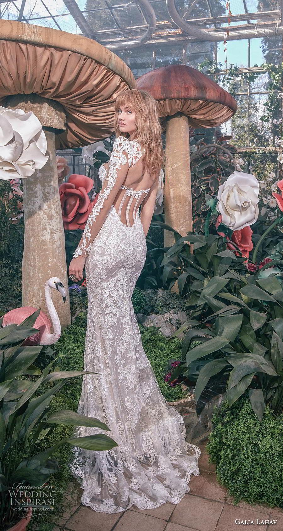 galia lahav s2020 gala bridal long sleeves illusion bateau sweetheart neckline full embellishment elegant glamorous sheath fit and flare wedding dress keyhole back sweep train (10) bv