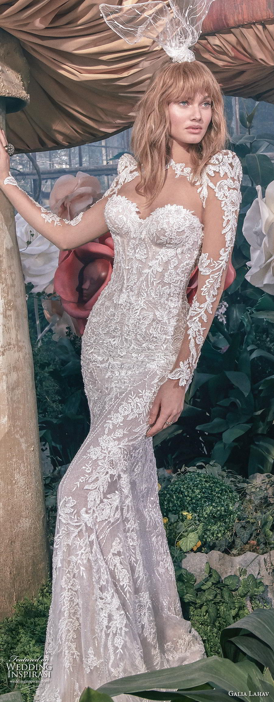 galia lahav s2020 gala bridal long sleeves illusion bateau sweetheart neckline full embellishment elegant glamorous sheath fit and flare wedding dress keyhole back sweep train (10) lv