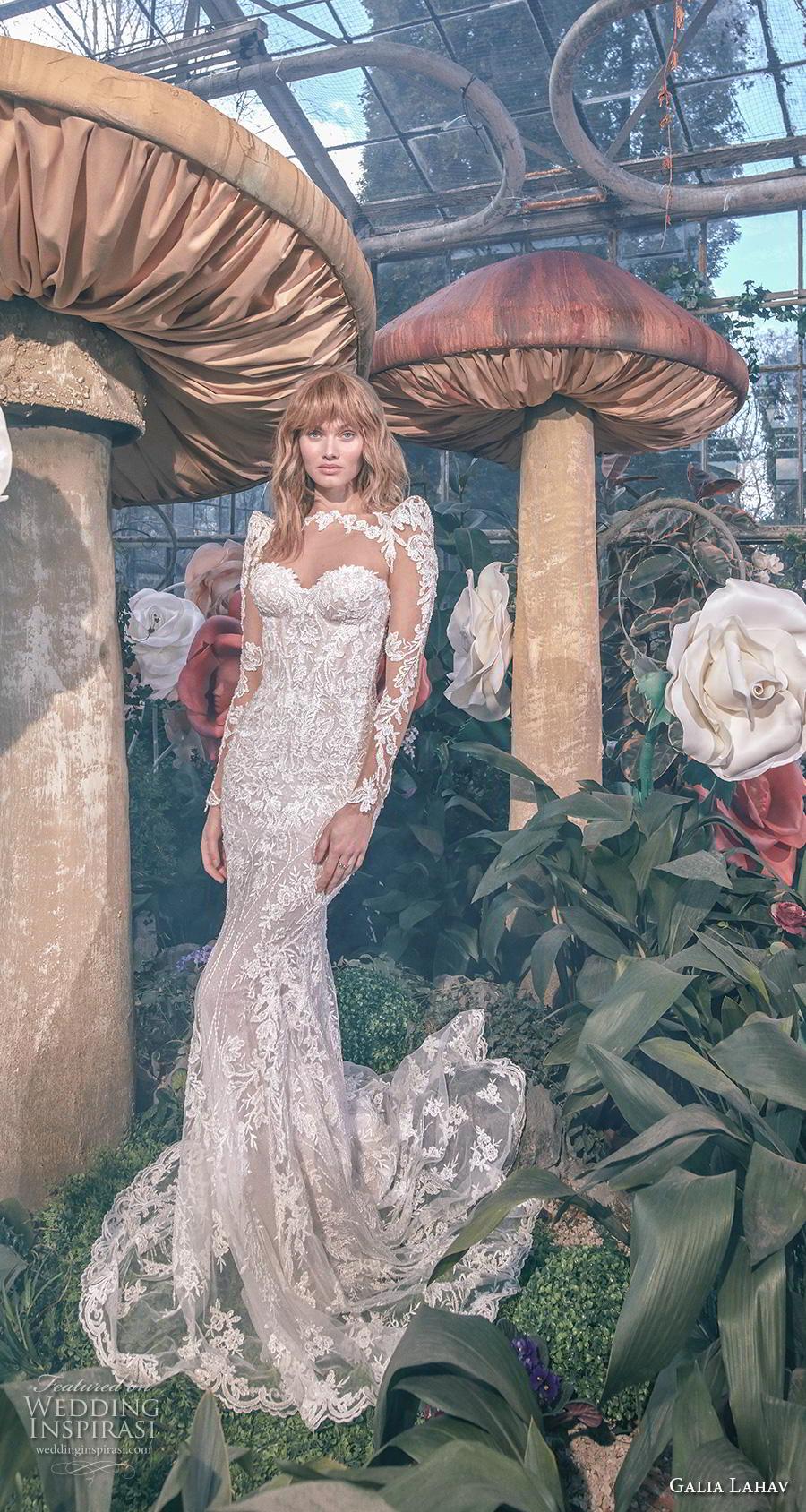 galia lahav s2020 gala bridal long sleeves illusion bateau sweetheart neckline full embellishment elegant glamorous sheath fit and flare wedding dress keyhole back sweep train (10) mv