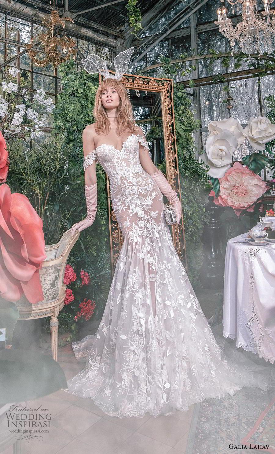 galia lahav s2020 gala bridal off the shoulder sweetheart neckline full embellishment elegant romantic mermaid wedding dress mid back medium train (4) mv