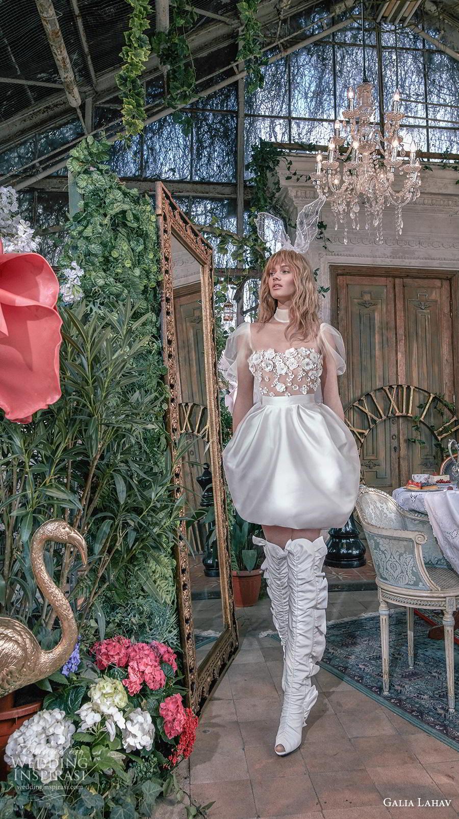 galia lahav s2020 gala bridal short puff sleeves high neck heavily embellished bodice romantic short bubble wedding dress sheer back (10) mv