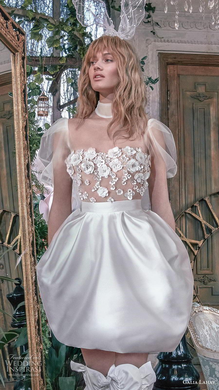 galia lahav s2020 gala bridal short puff sleeves high neck heavily embellished bodice romantic short bubble wedding dress sheer back (10) zv