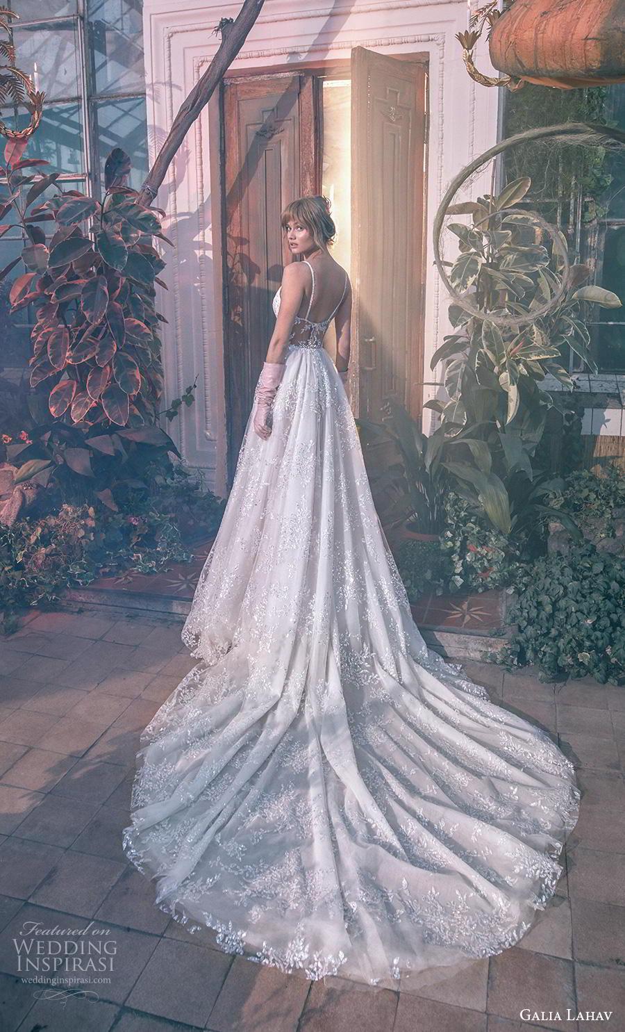 galia lahav s2020 gala bridal sleeveless thin strap deep plunging sweetheart neckline glamorous sexy a  line wedding dress mid back chapel train (7) bv