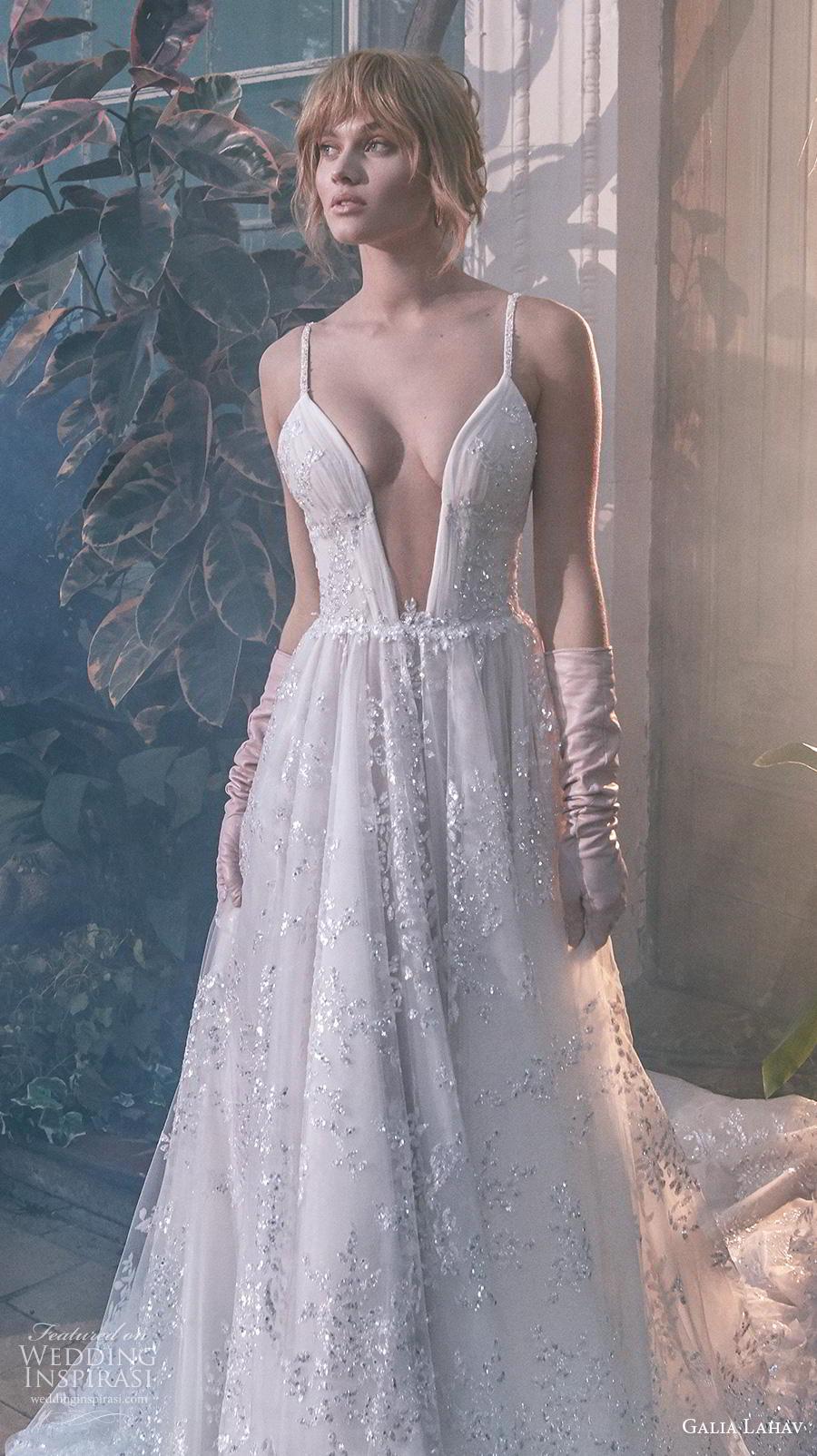 galia lahav s2020 gala bridal sleeveless thin strap deep plunging sweetheart neckline glamorous sexy a  line wedding dress mid back chapel train (7) zv