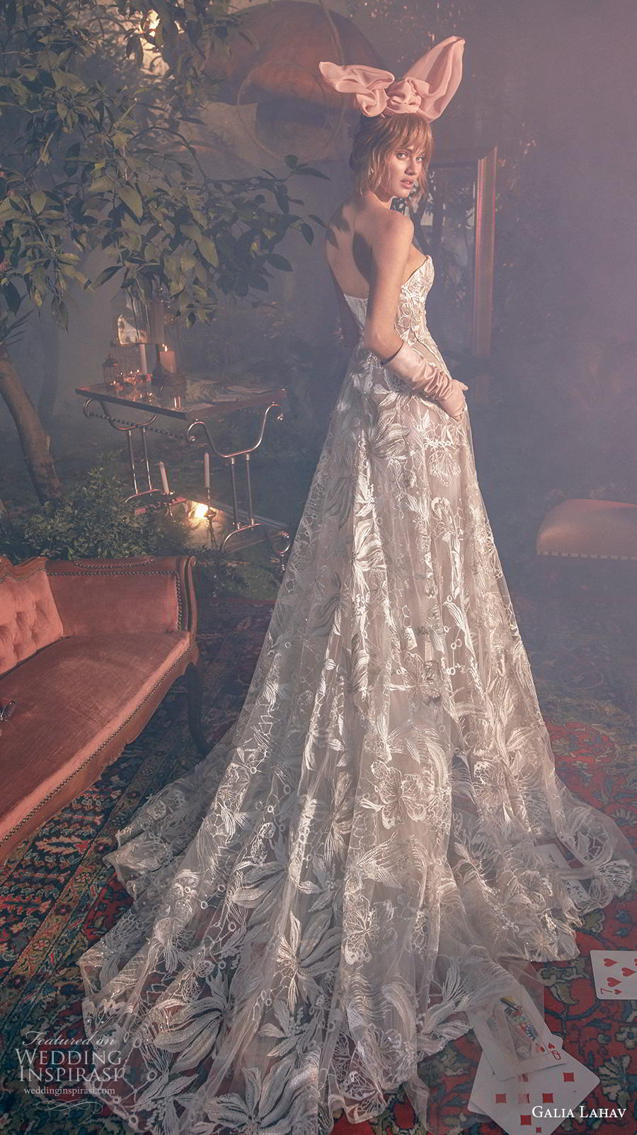 galia lahav s2020 gala bridal strapless sweetheart neckline full embellishment romantic a  line wedding dress mid back chapel train (1) bv