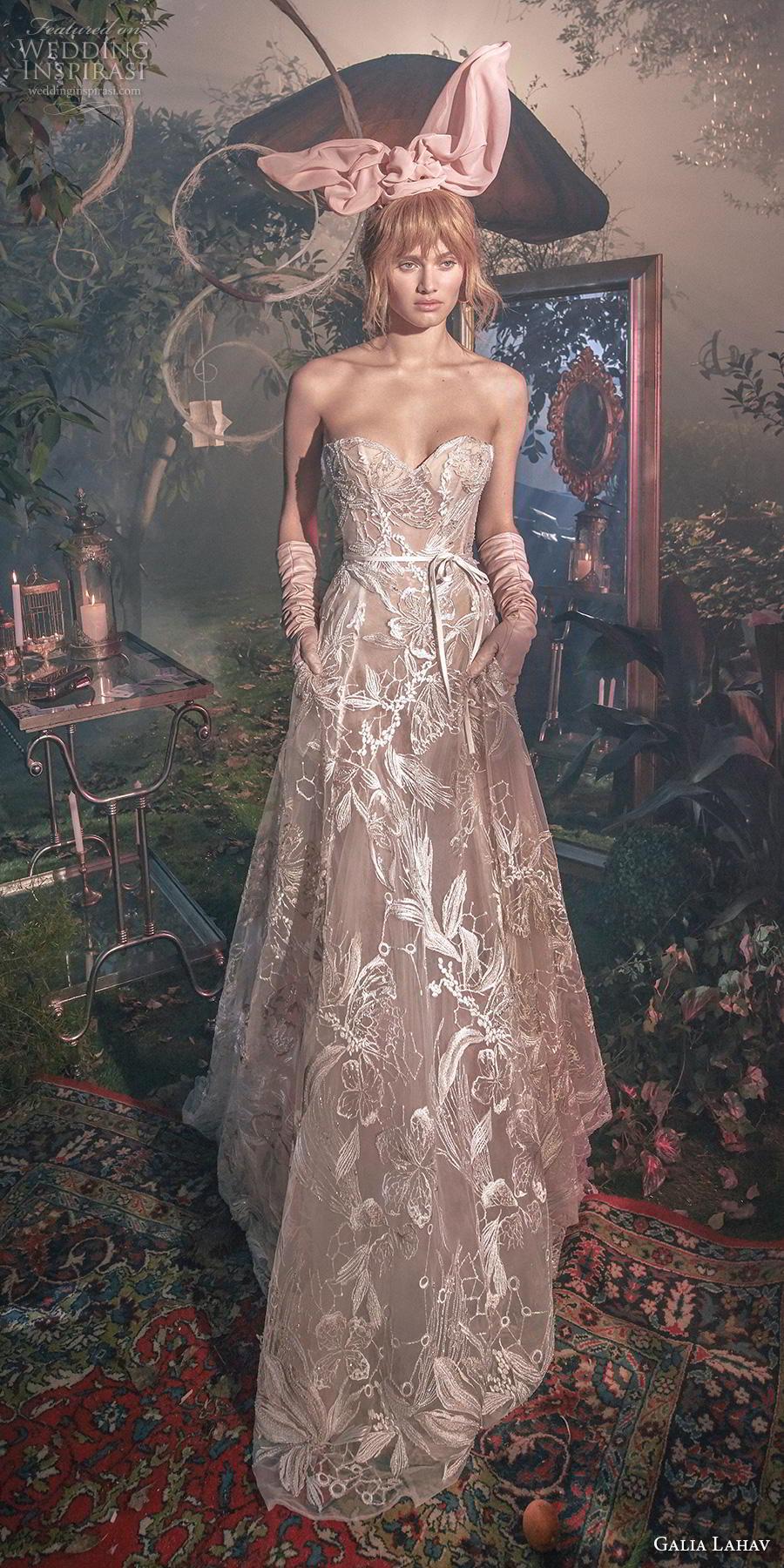 galia lahav s2020 gala bridal strapless sweetheart neckline full embellishment romantic a  line wedding dress mid back chapel train (1) mv