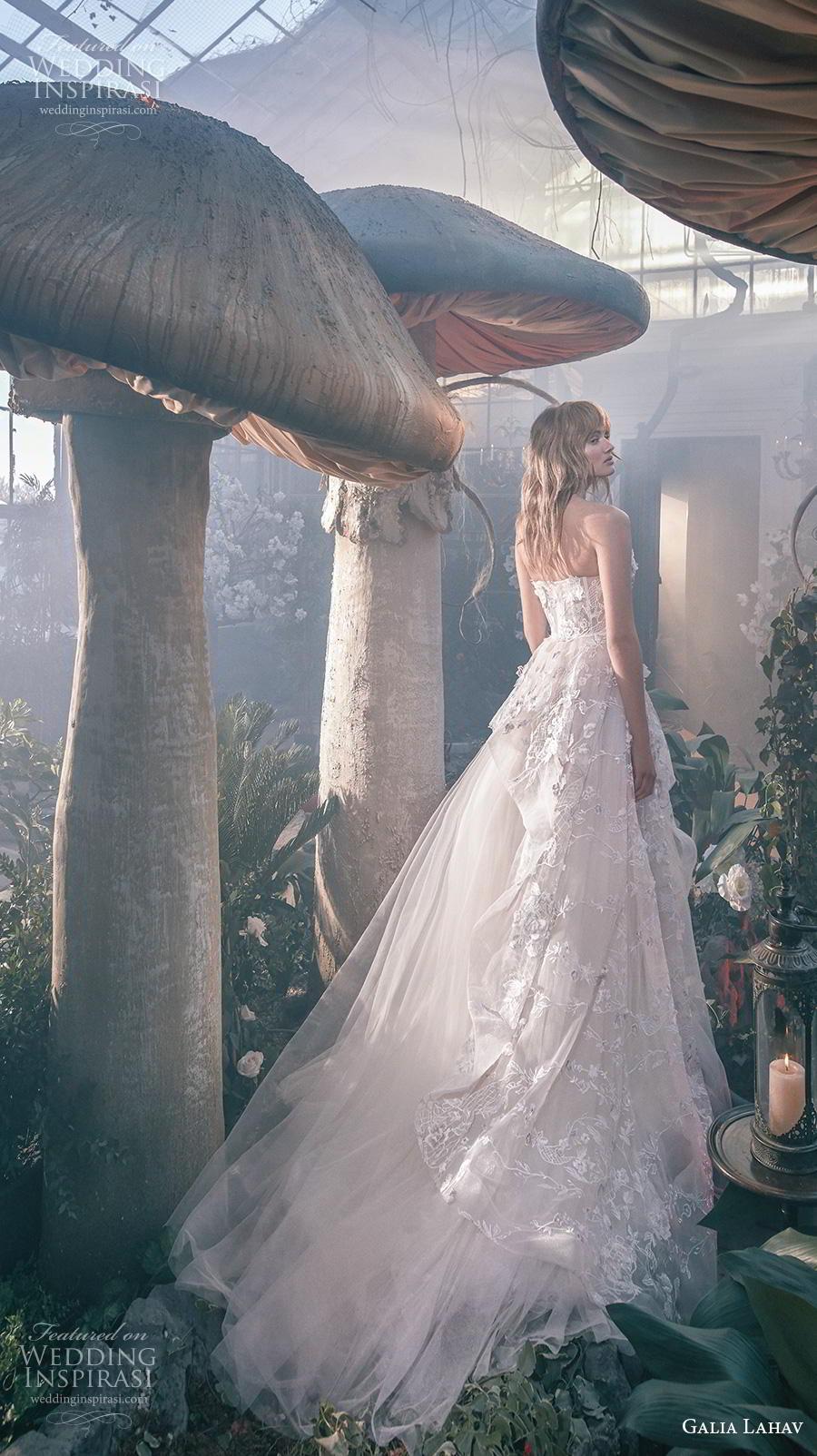 galia lahav s2020 gala bridal strapless sweetheart neckline full embellishment tulle skirt romantic a  line wedding dress mid back chapel train (5) bv