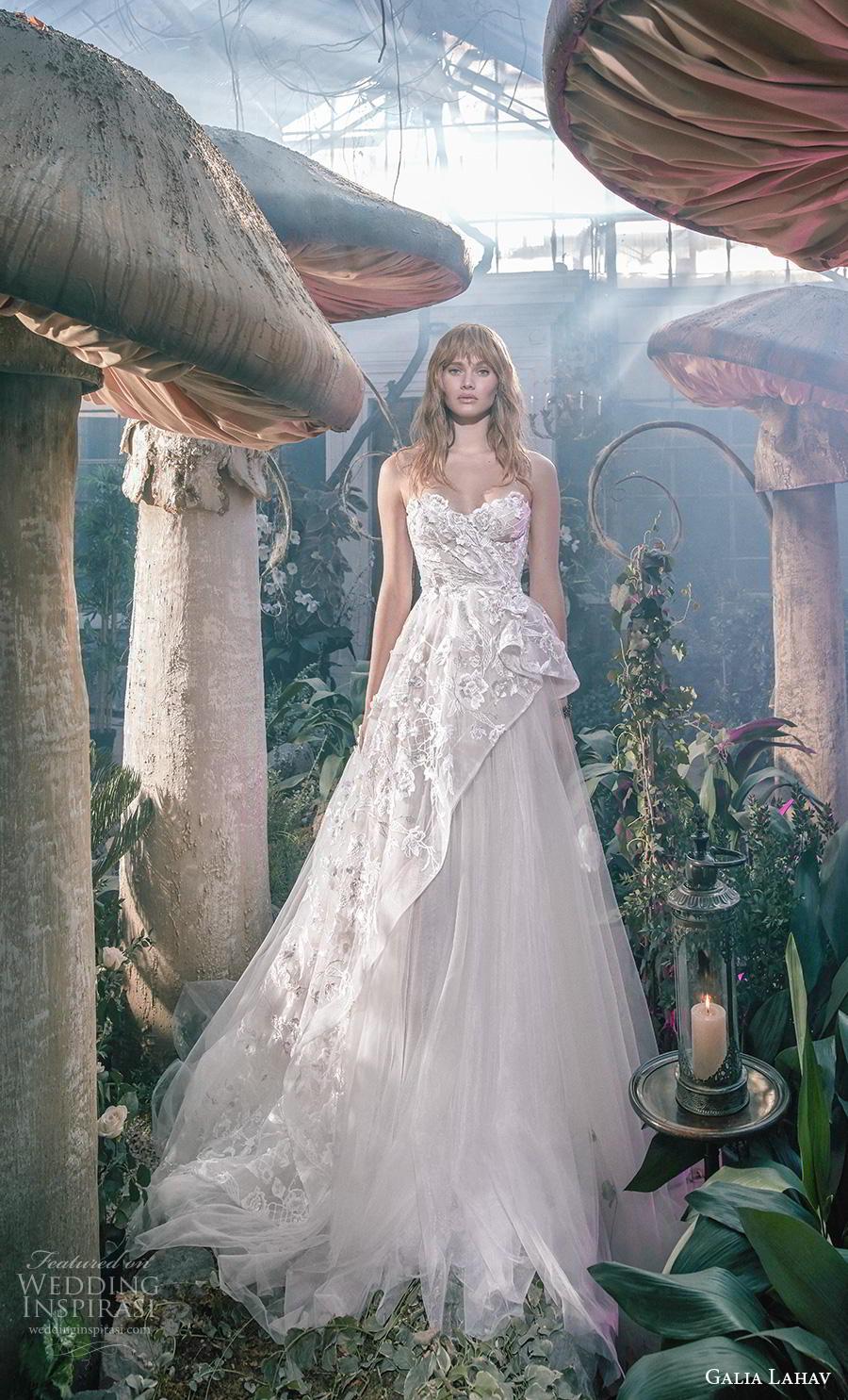 galia lahav s2020 gala bridal strapless sweetheart neckline full embellishment tulle skirt romantic a  line wedding dress mid back chapel train (5) mv