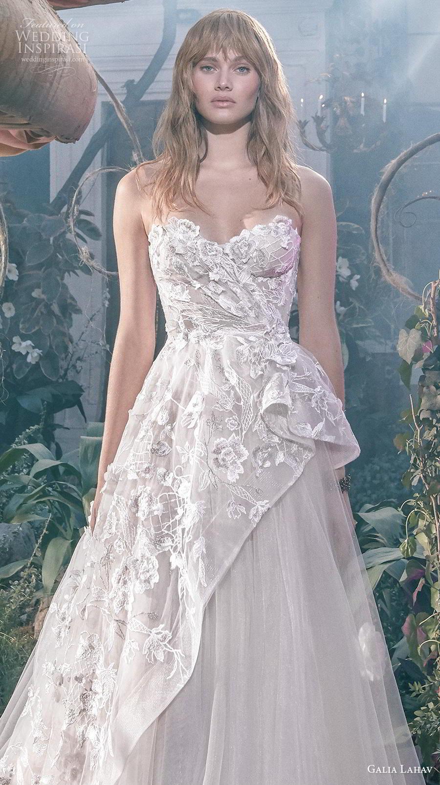 galia lahav s2020 gala bridal strapless sweetheart neckline full embellishment tulle skirt romantic a  line wedding dress mid back chapel train (5) zv