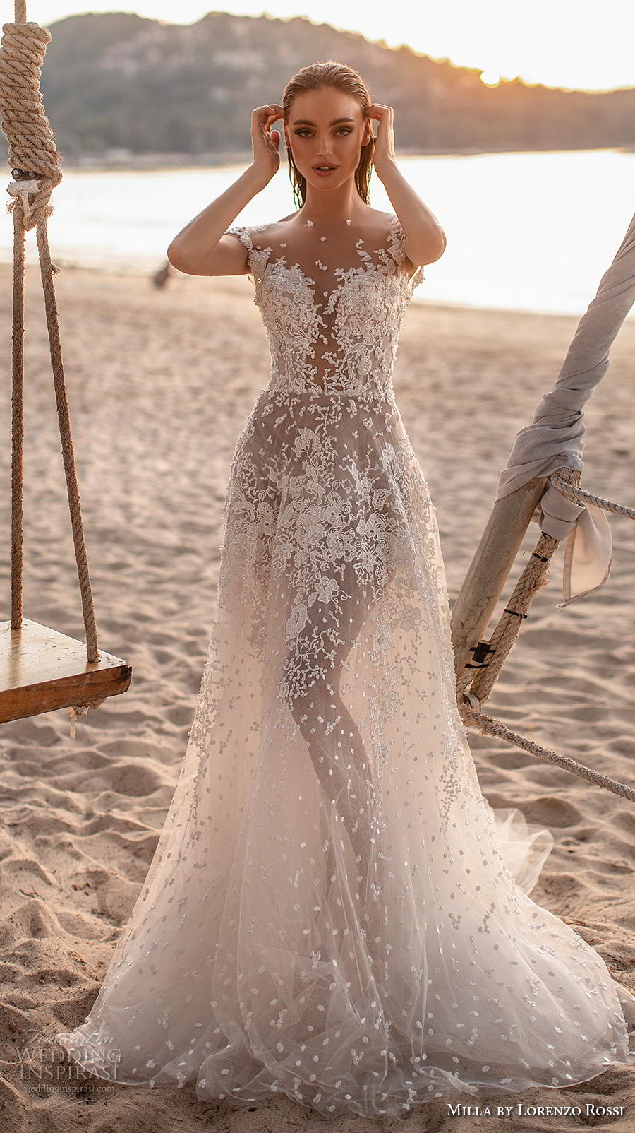 lorenzo rossi 2019 milla bridal cap sleeves illusion jewel sweetheart neckline full embellishment romantic soft a  line wedding dress backless v back chapel train (18) mv
