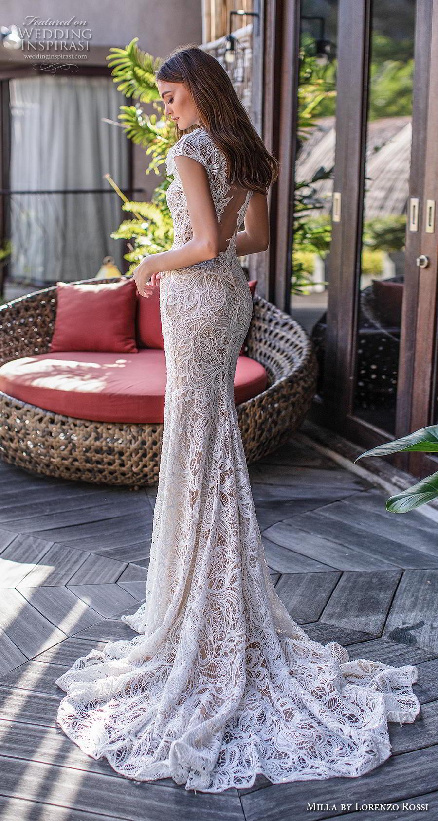 lorenzo rossi 2019 milla bridal cap sleeves jewel neck full embellishment elegant fit and flare sheath wedding dress keyhole back short train (12) bv