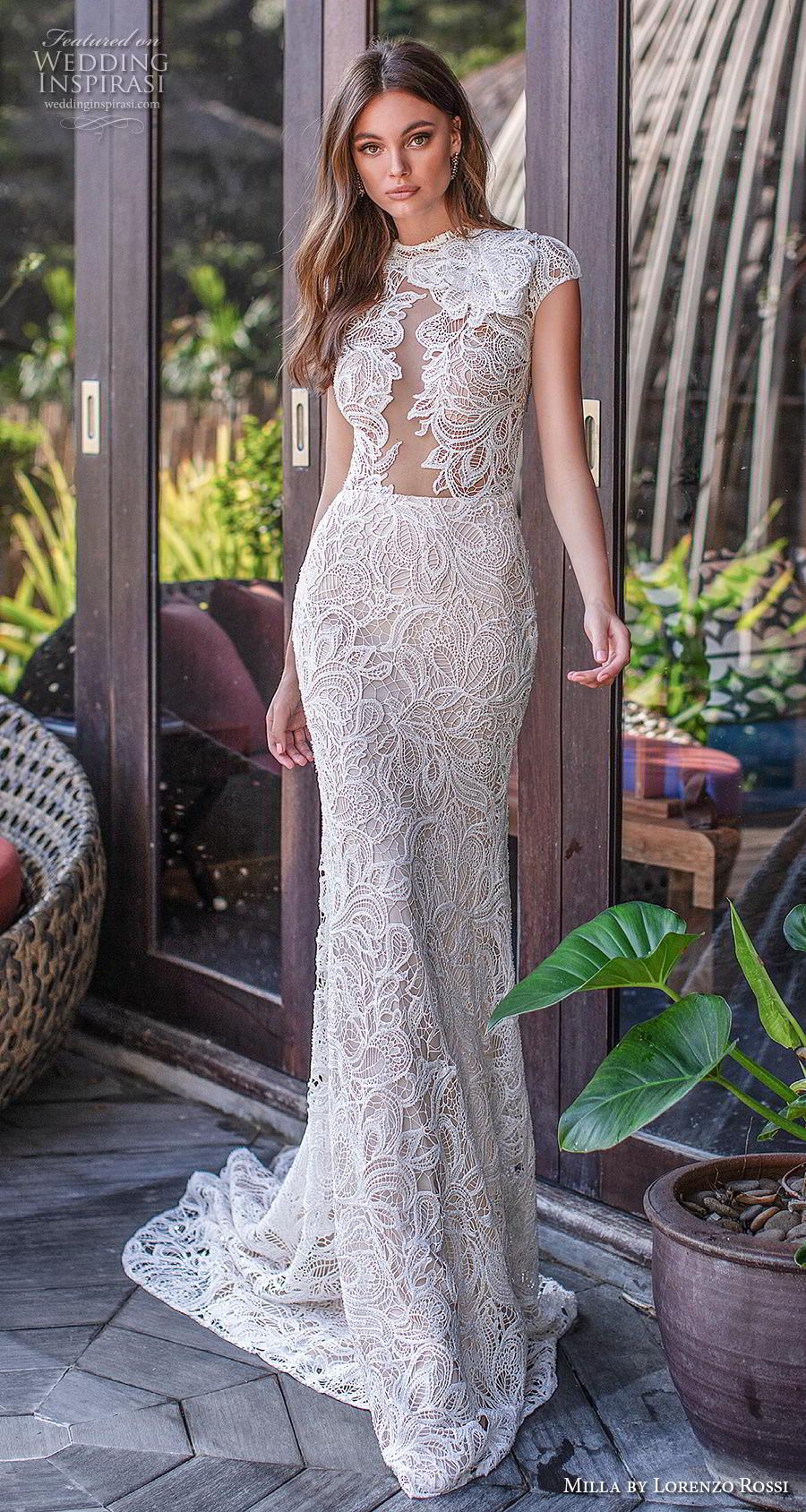 lorenzo rossi 2019 milla bridal cap sleeves jewel neck full embellishment elegant fit and flare sheath wedding dress keyhole back short train (12) mv