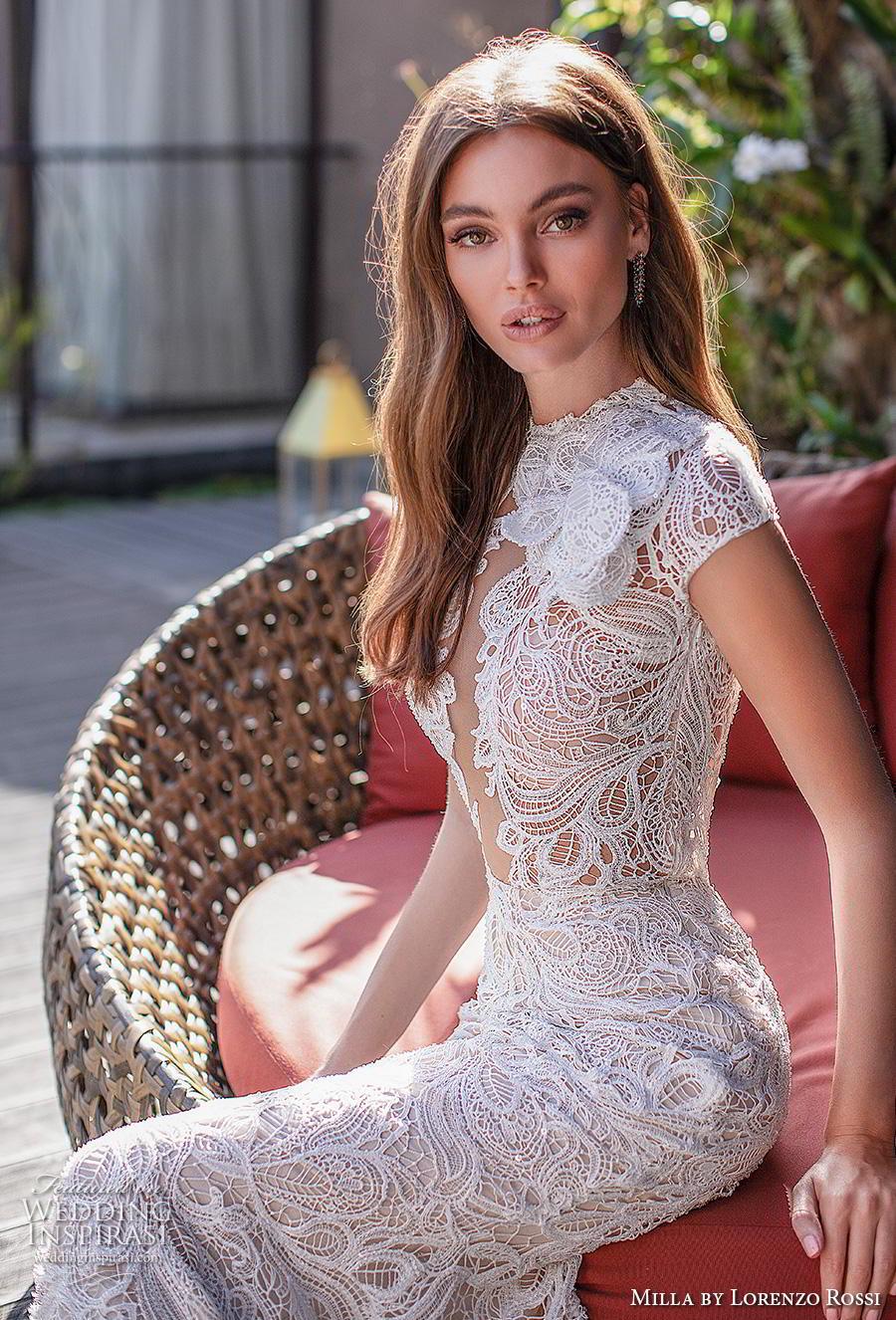 lorenzo rossi 2019 milla bridal cap sleeves jewel neck full embellishment elegant fit and flare sheath wedding dress keyhole back short train (12) zv