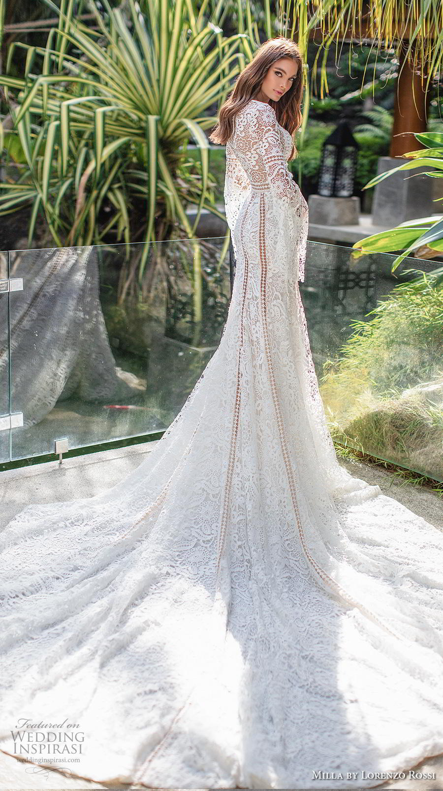 lorenzo rossi 2019 milla bridal long bell sleeves v neck full embellishment elegant bohemian fit and flare wedding dress covered lace back royal train (20) bv