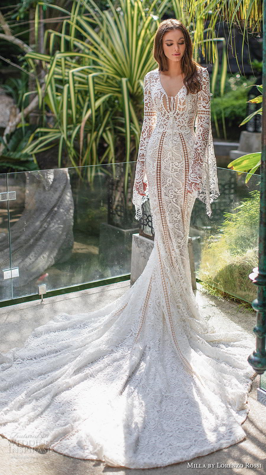 lorenzo rossi 2019 milla bridal long bell sleeves v neck full embellishment elegant bohemian fit and flare wedding dress covered lace back royal train (20) mv