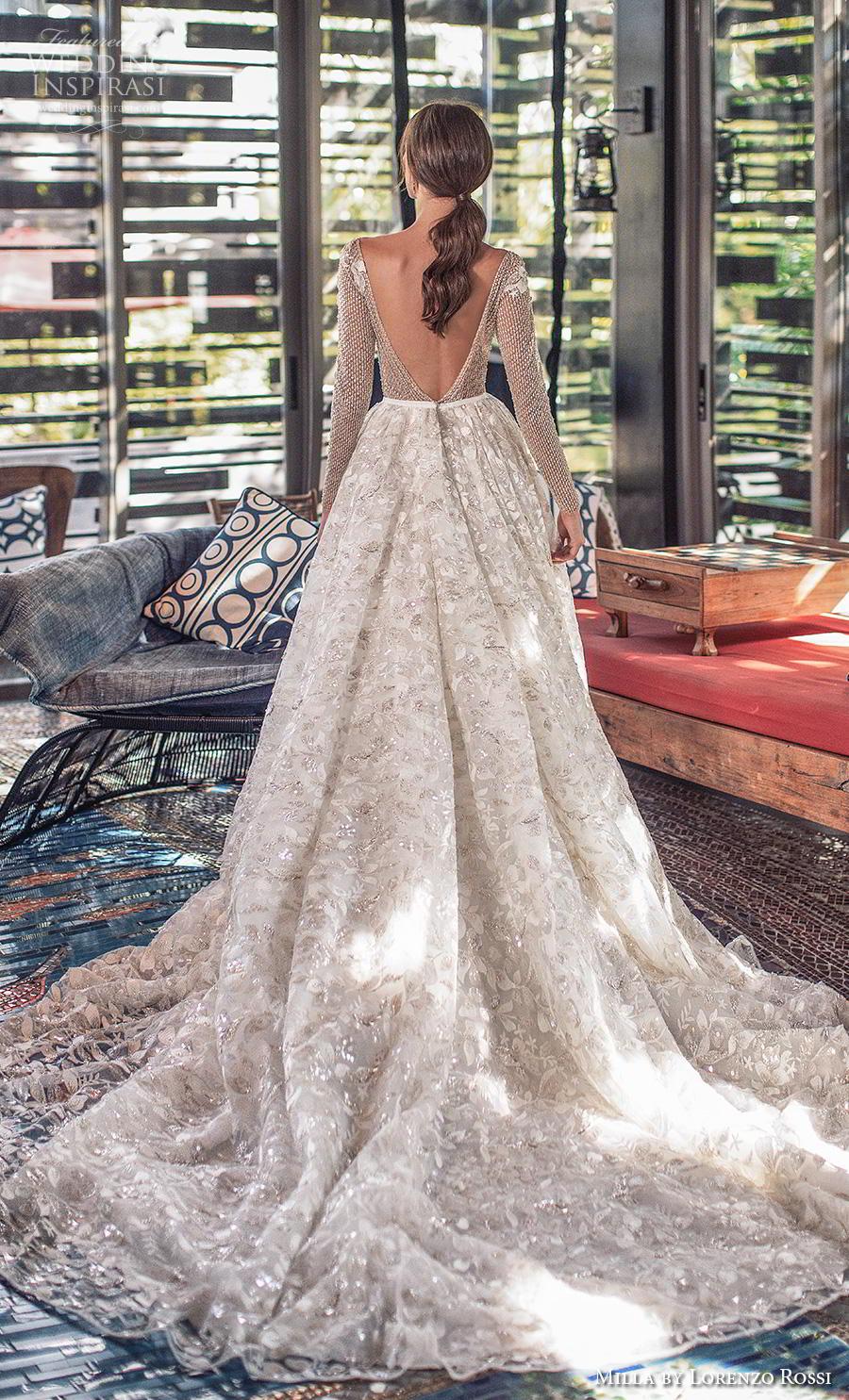 lorenzo rossi 2019 milla bridal long sleeves bateau neckline full embellishment glamorous romantic a  line wedding dress backless v back chapel train (2) bv