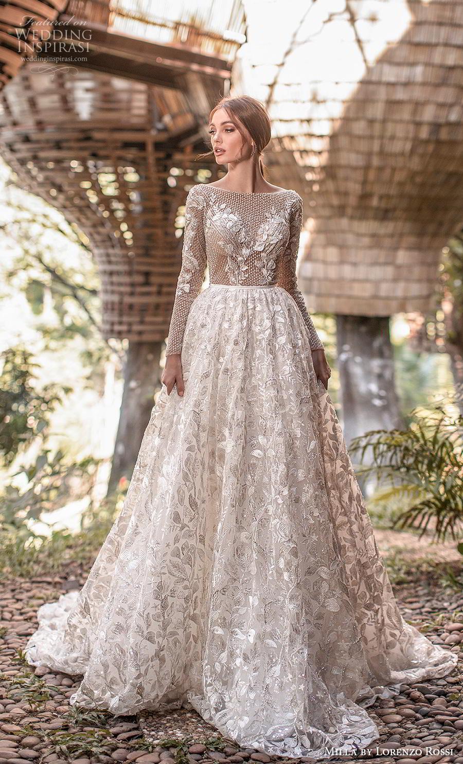 lorenzo rossi 2019 milla bridal long sleeves bateau neckline full embellishment glamorous romantic a  line wedding dress backless v back chapel train (2) mv