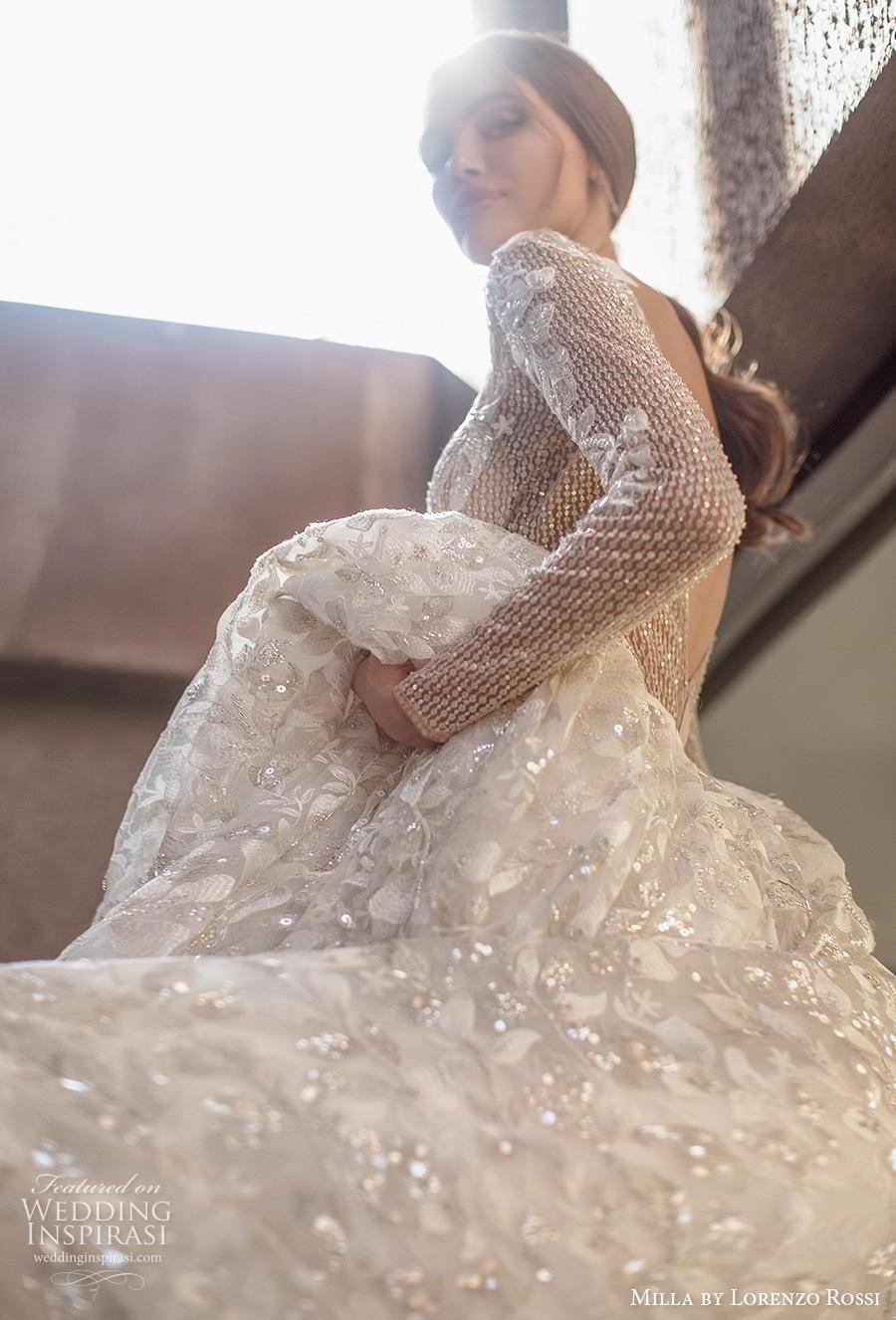 lorenzo rossi 2019 milla bridal long sleeves bateau neckline full embellishment glamorous romantic a  line wedding dress backless v back chapel train (2) zv
