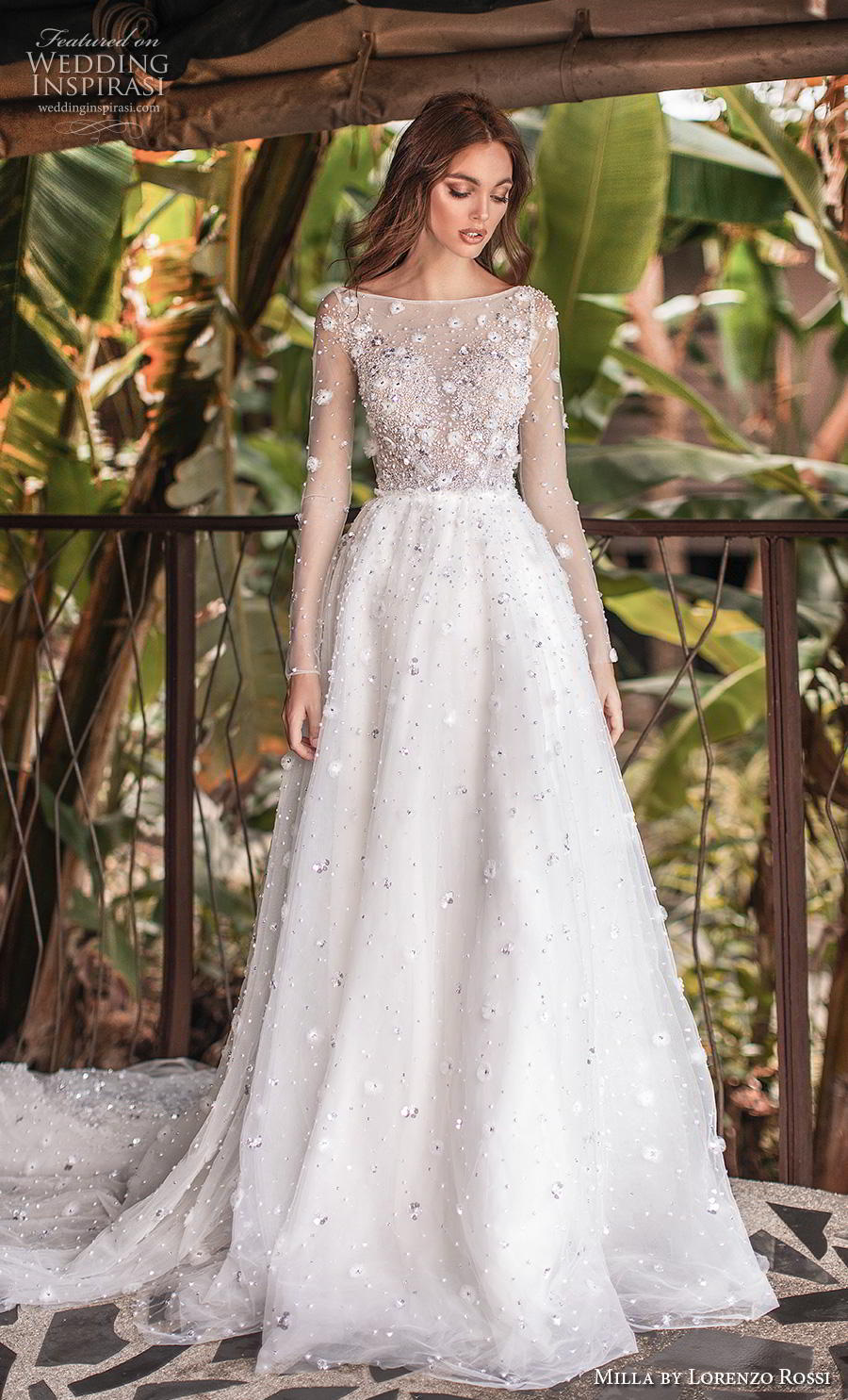 lorenzo rossi 2019 milla bridal long sleeves bateau neckline heavily embellished bodice romantic a  line wedding dress sheer button back chapel train (19) mv