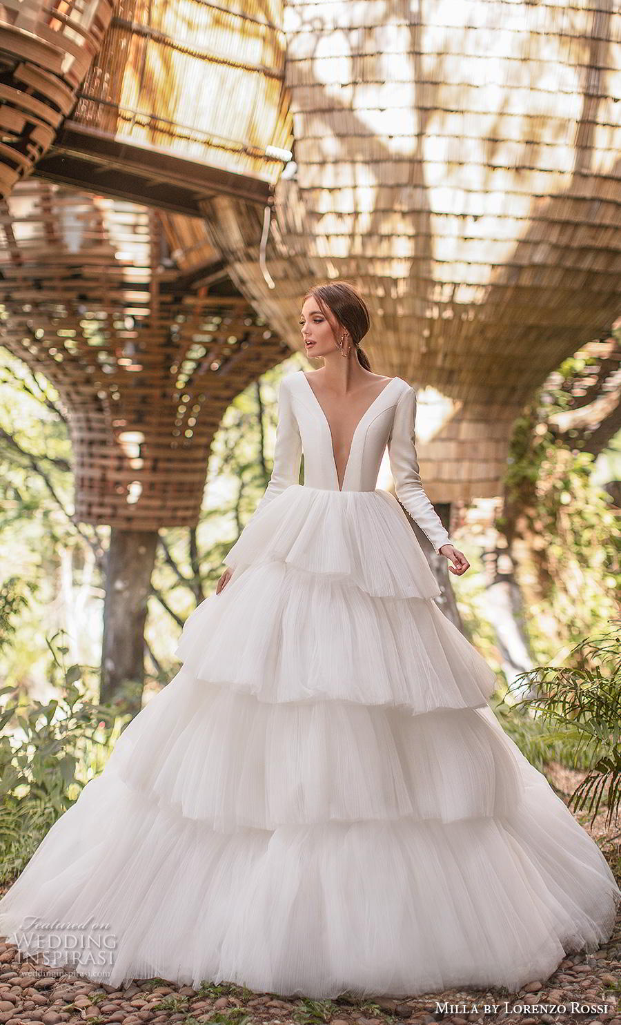 lorenzo rossi 2019 milla bridal long sleeves deep plunging v neck simple elegant minimalist tiered skirt ball gown a  line wedding dress sheer button back royal train (1) mv