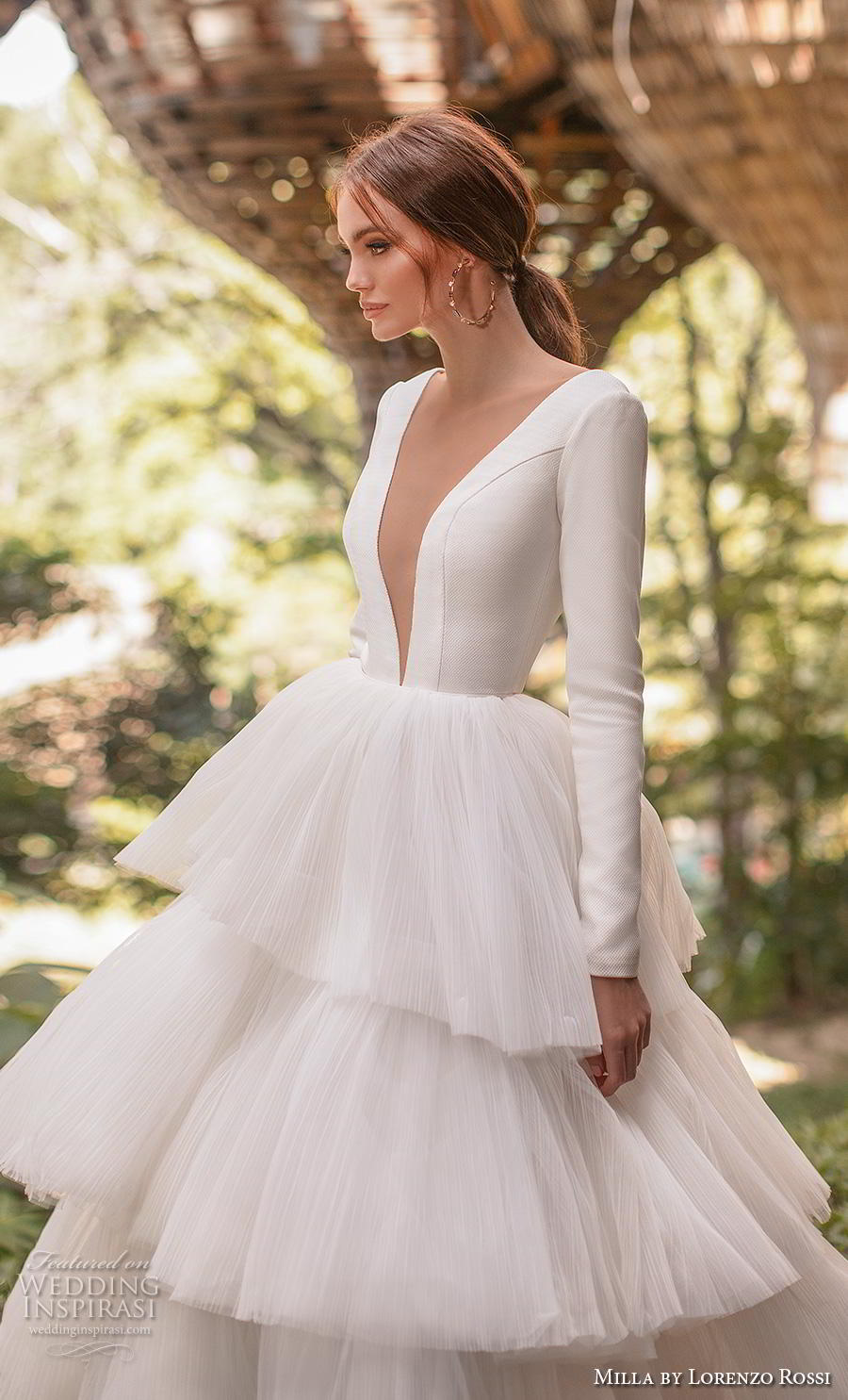 lorenzo rossi 2019 milla bridal long sleeves deep plunging v neck simple elegant minimalist tiered skirt ball gown a  line wedding dress sheer button back royal train (1) zv