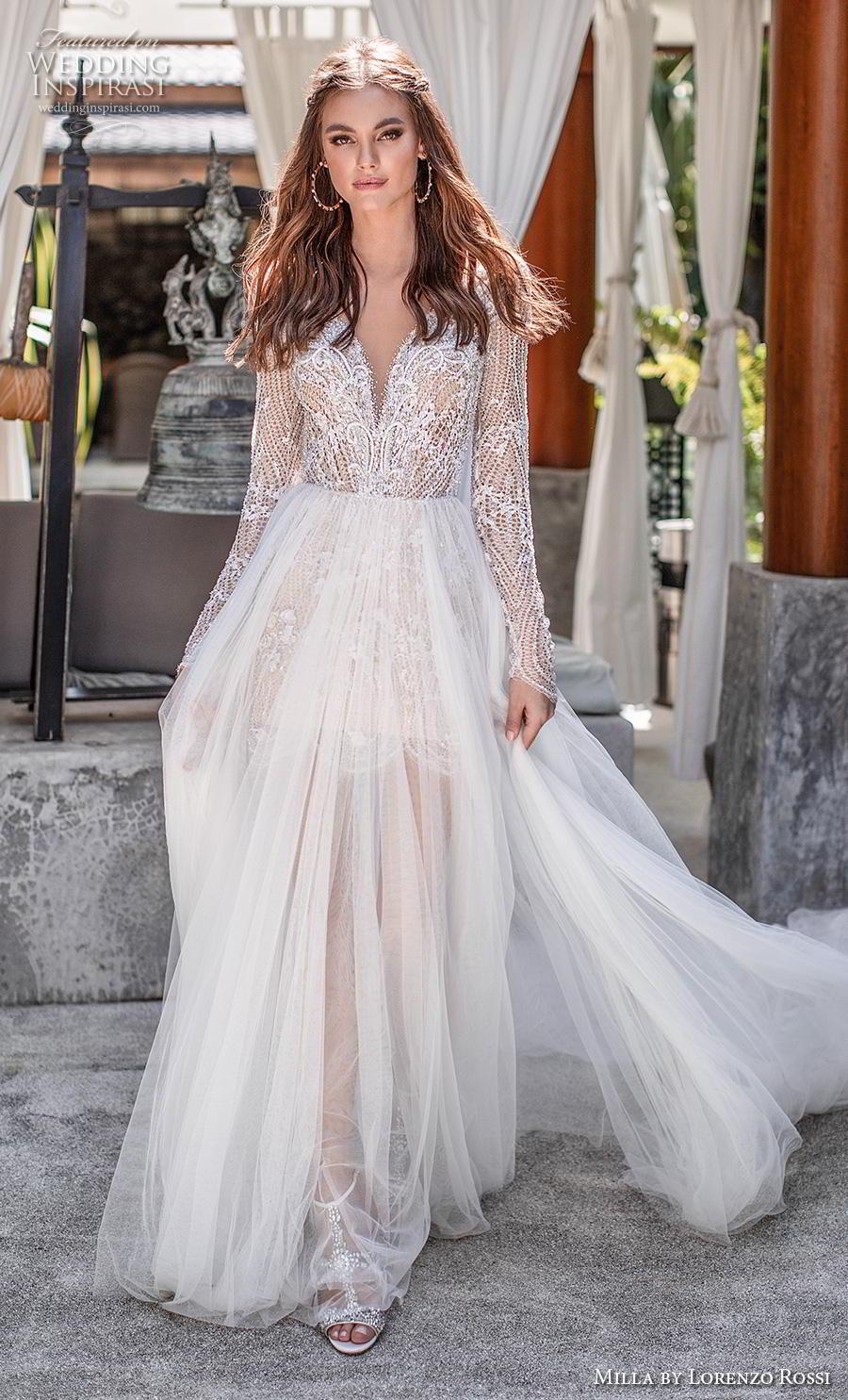 lorenzo rossi 2019 milla bridal long sleeves deep sweetheart neckline heavily embellished bodice sheer skirt romantic soft a  line wedding dress chapel train (15) mv