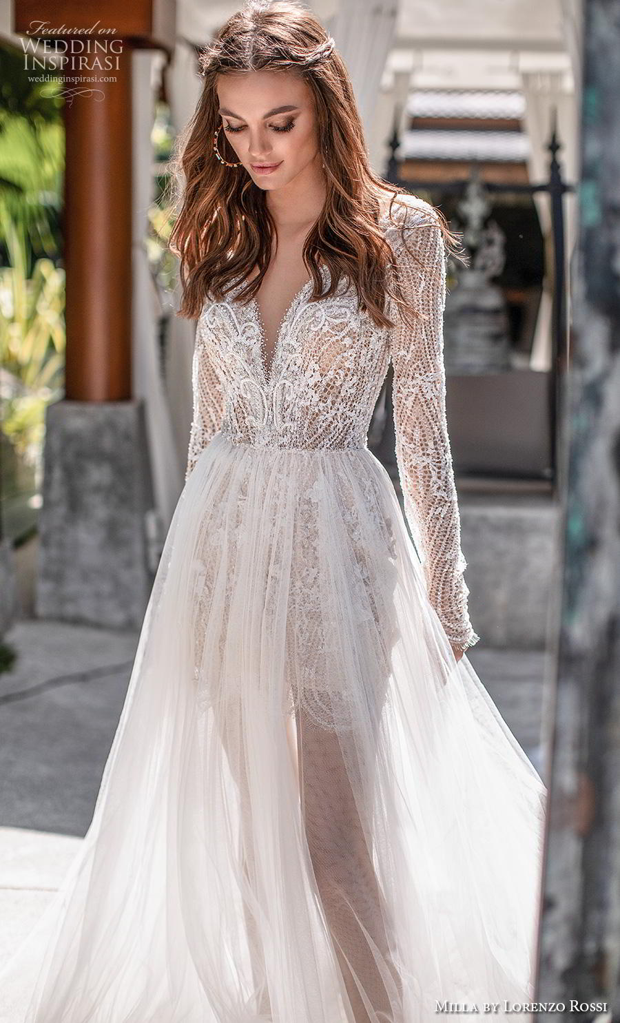 lorenzo rossi 2019 milla bridal long sleeves deep sweetheart neckline heavily embellished bodice sheer skirt romantic soft a  line wedding dress chapel train (15) zv