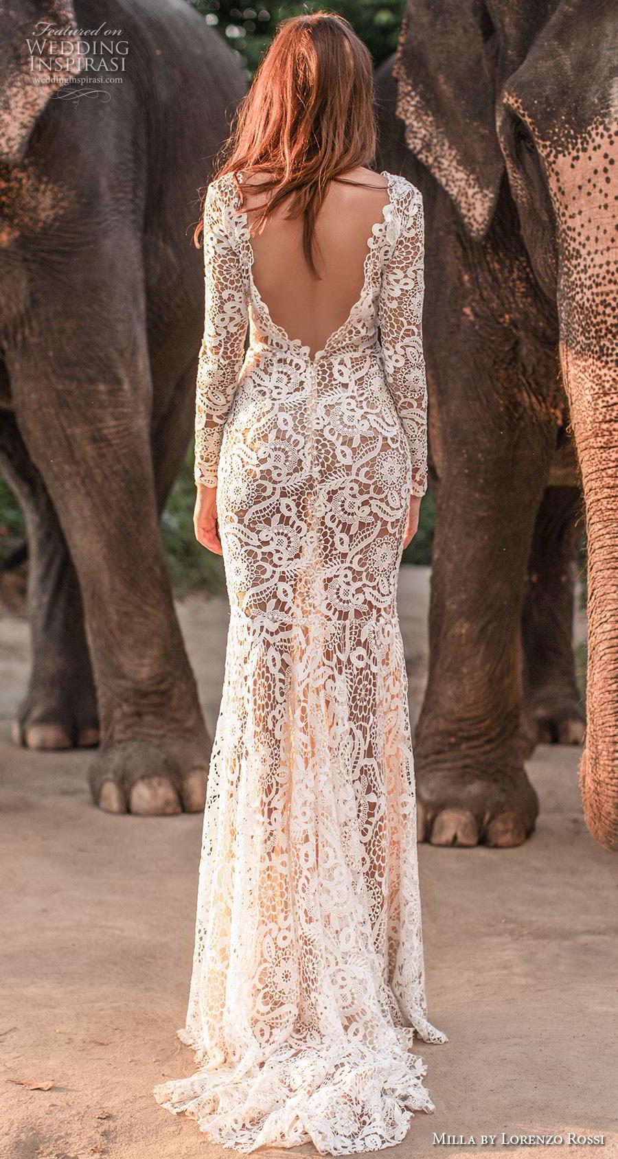 lorenzo rossi 2019 milla bridal long sleeves deep v neck full embellishment elegant sheath wedding dress low v back sweep train (17) bv