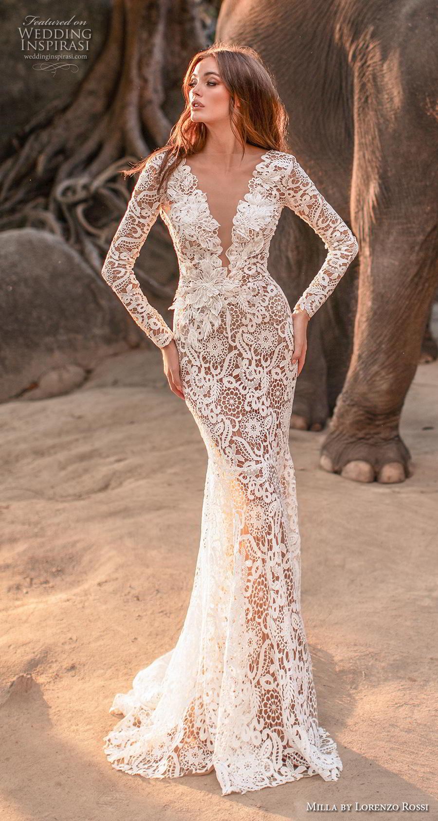 lorenzo rossi 2019 milla bridal long sleeves deep v neck full embellishment elegant sheath wedding dress low v back sweep train (17) mv